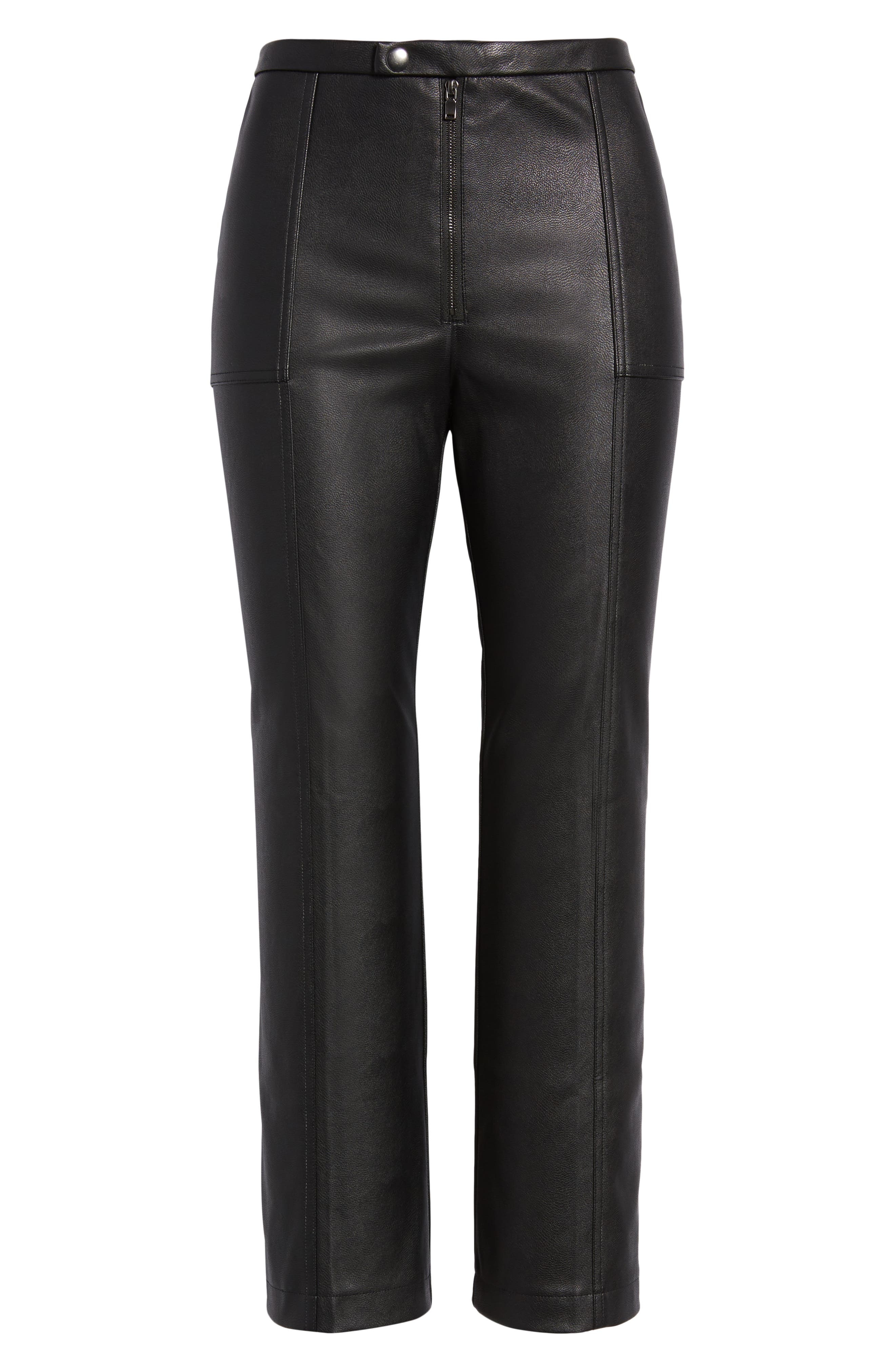 DAVID LERNER, Pintuck Flare Faux Leather Trousers, Alternate thumbnail 7, color, 001