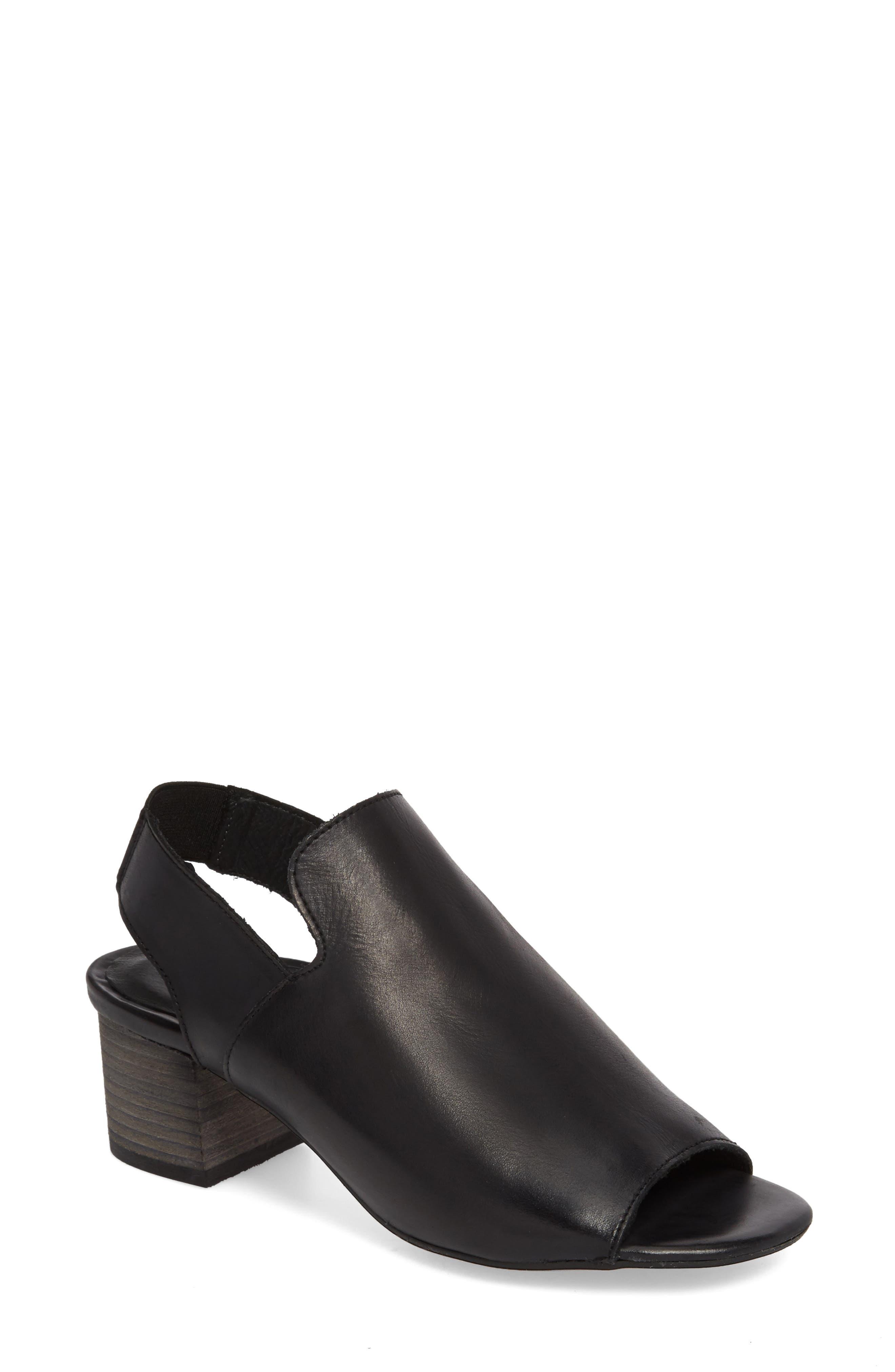 BOS. & CO., Zaire Slingback Sandal, Main thumbnail 1, color, BLACK GLAMOUR LEATHER