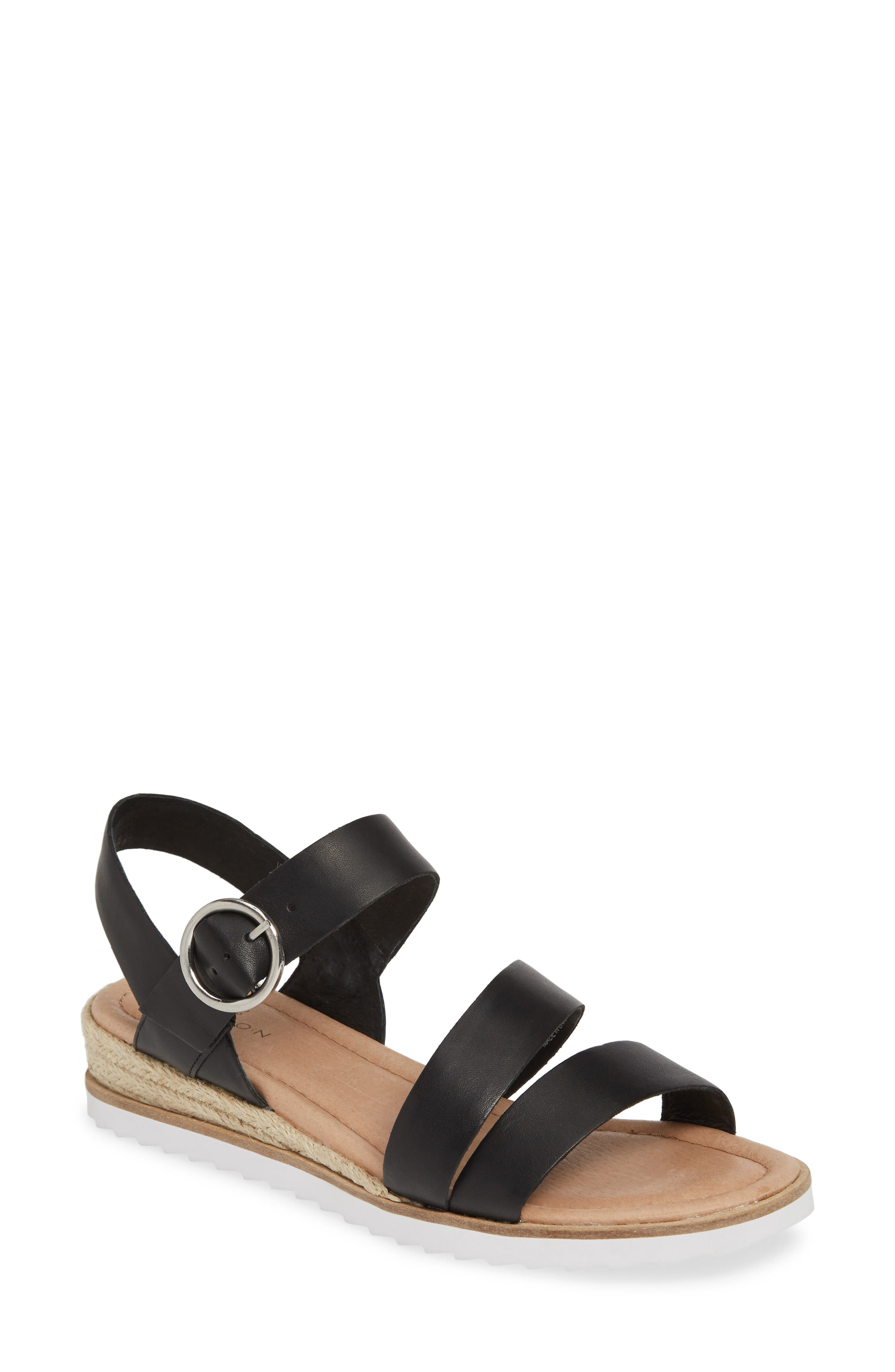 CASLON<SUP>®</SUP>, Caslon Cameron Espadrille Wedge Sandal, Main thumbnail 1, color, BLACK LEATHER