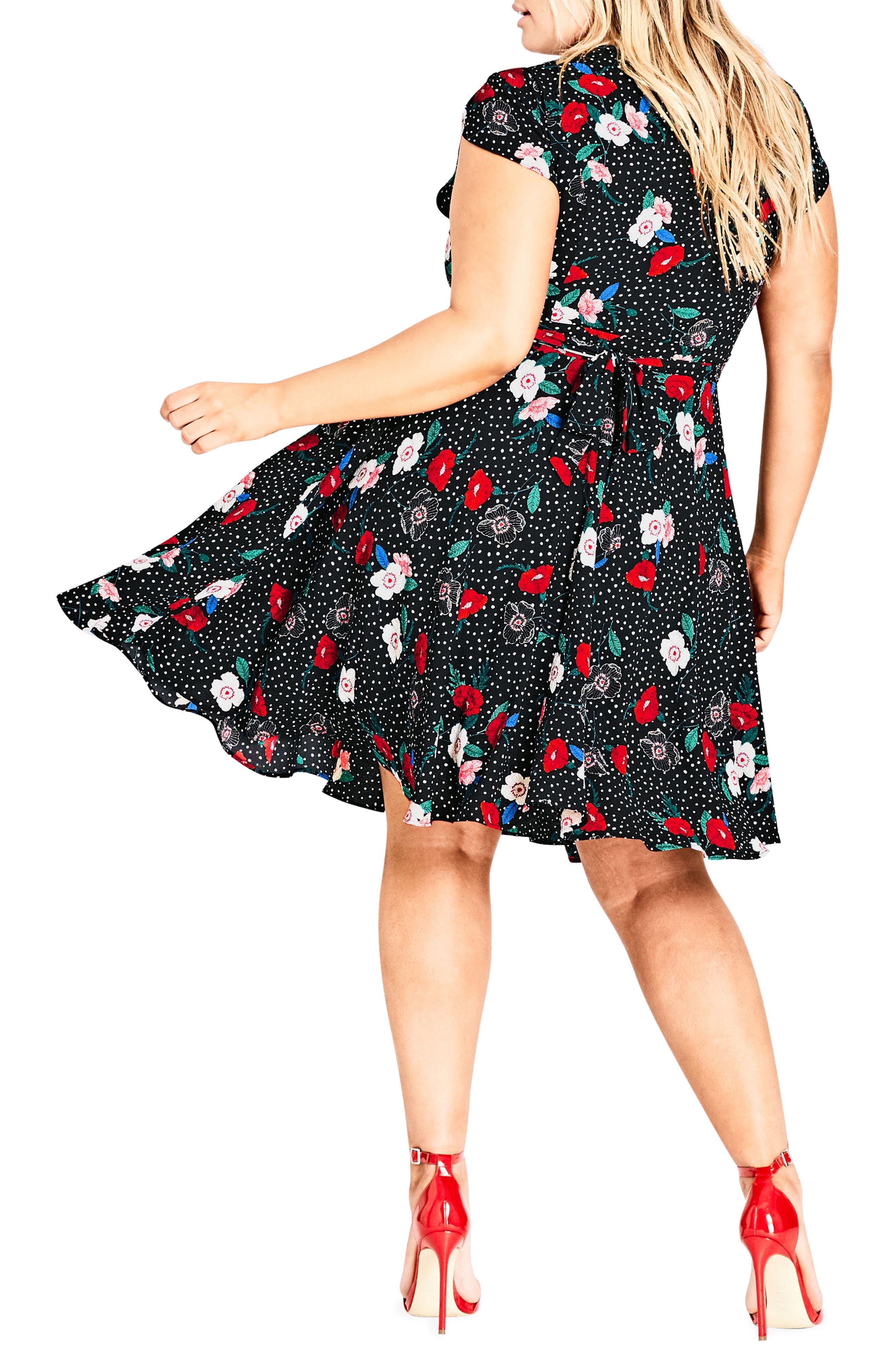 CITY CHIC, Floral Spot Dress, Alternate thumbnail 2, color, SPOT FLORAL