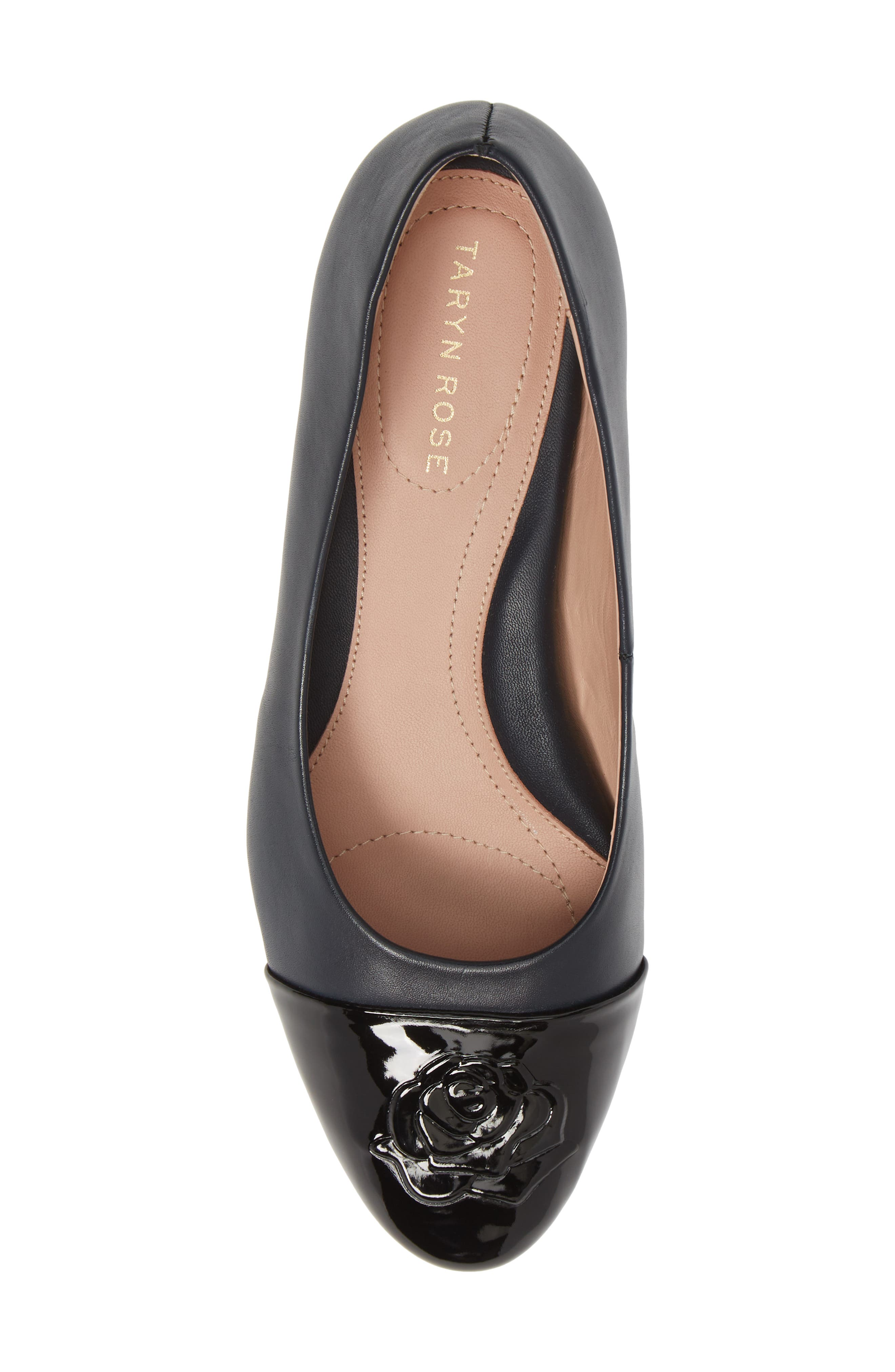TARYN ROSE, Babe Cap Toe Pump, Alternate thumbnail 5, color, MIDNIGHT/ BLACK LEATHER
