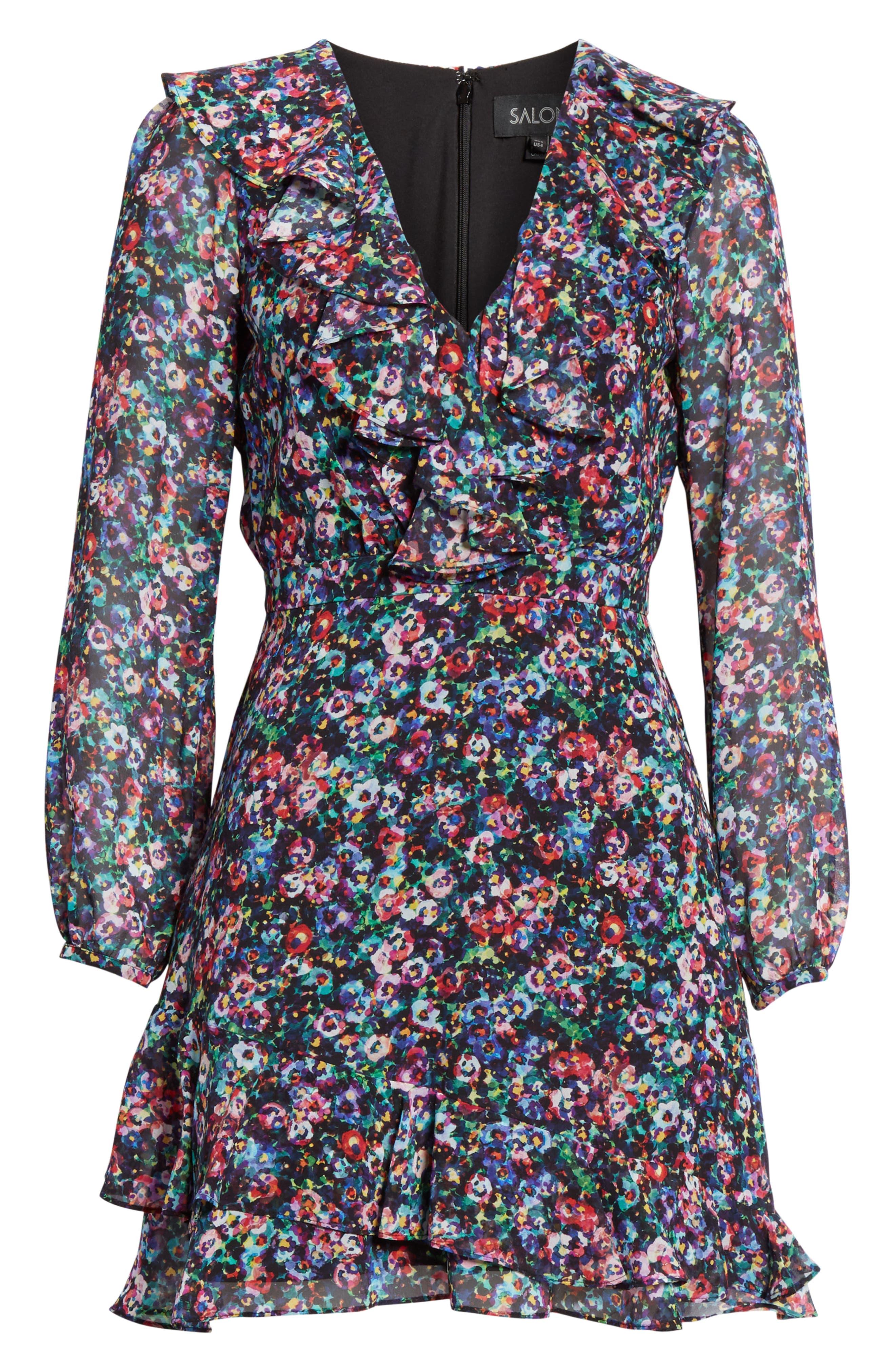 SALONI, Jodie Floral Print Silk Minidress, Alternate thumbnail 7, color, JEWEL ROSETTE