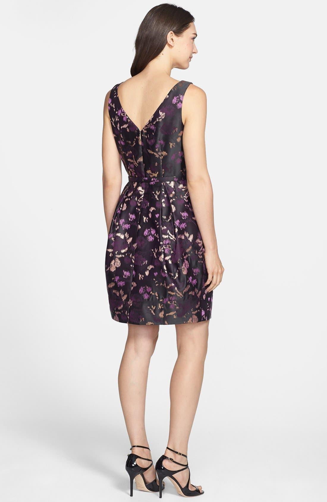 ELIZA J, Brocade Fit & Flare Dress, Alternate thumbnail 3, color, 500