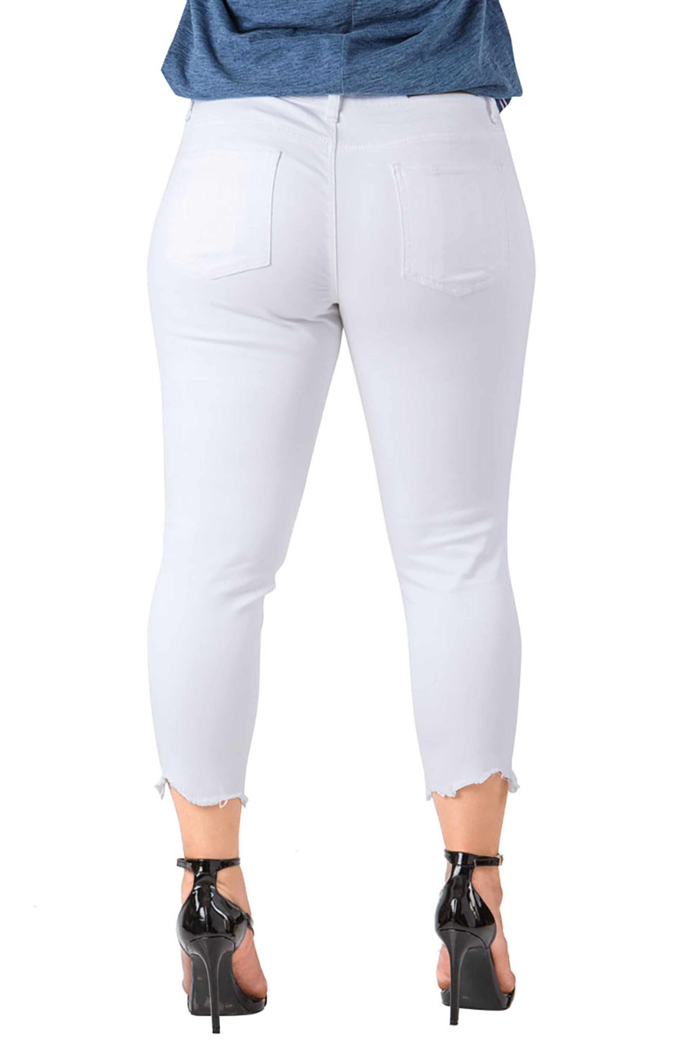 STANDARDS & PRACTICES, Tessa Chewed Hem Stretch Skinny Jeans, Alternate thumbnail 2, color, WHITE