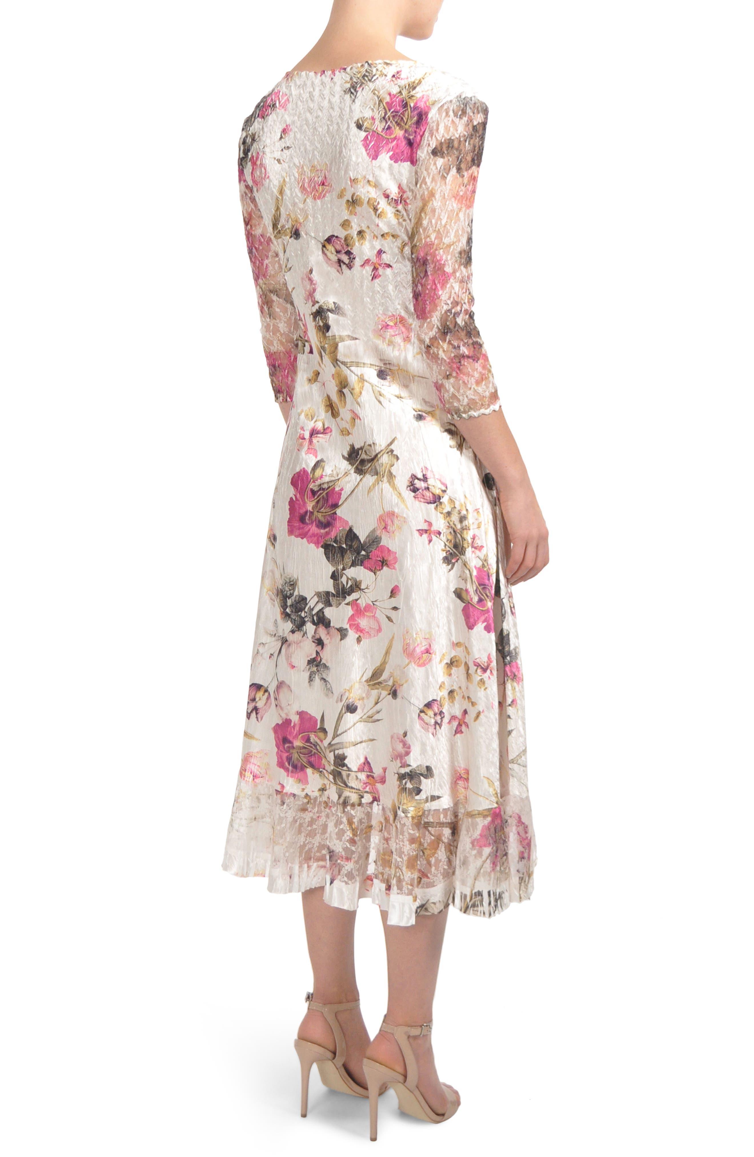 KOMAROV, Chiffon & Charmeuse Dress, Alternate thumbnail 2, color, ENGLISH BLOOM