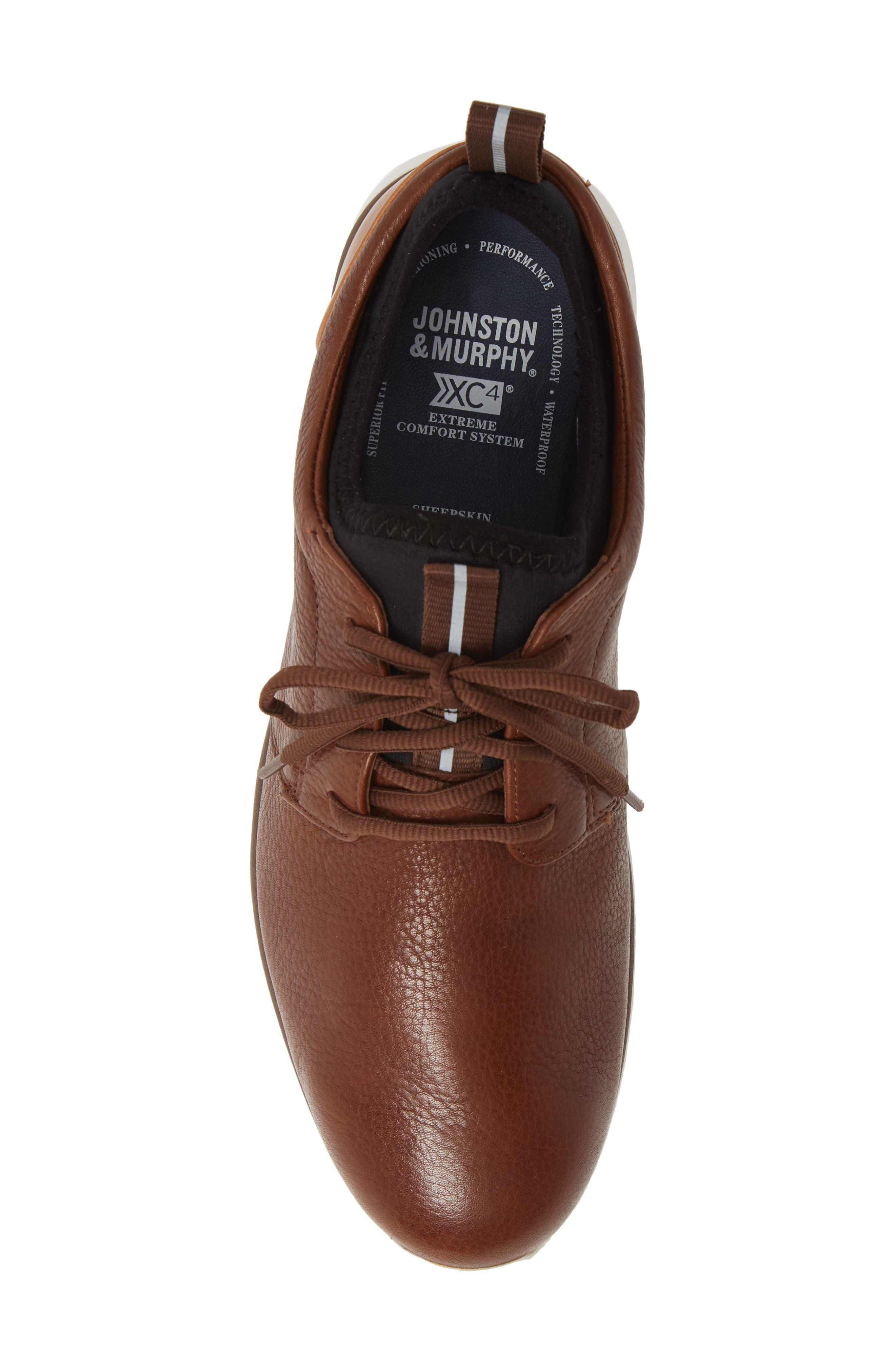 JOHNSTON & MURPHY, Prentiss XC4<sup>®</sup> Waterproof Low Top Sneaker, Alternate thumbnail 5, color, MAHOGANY LEATHER