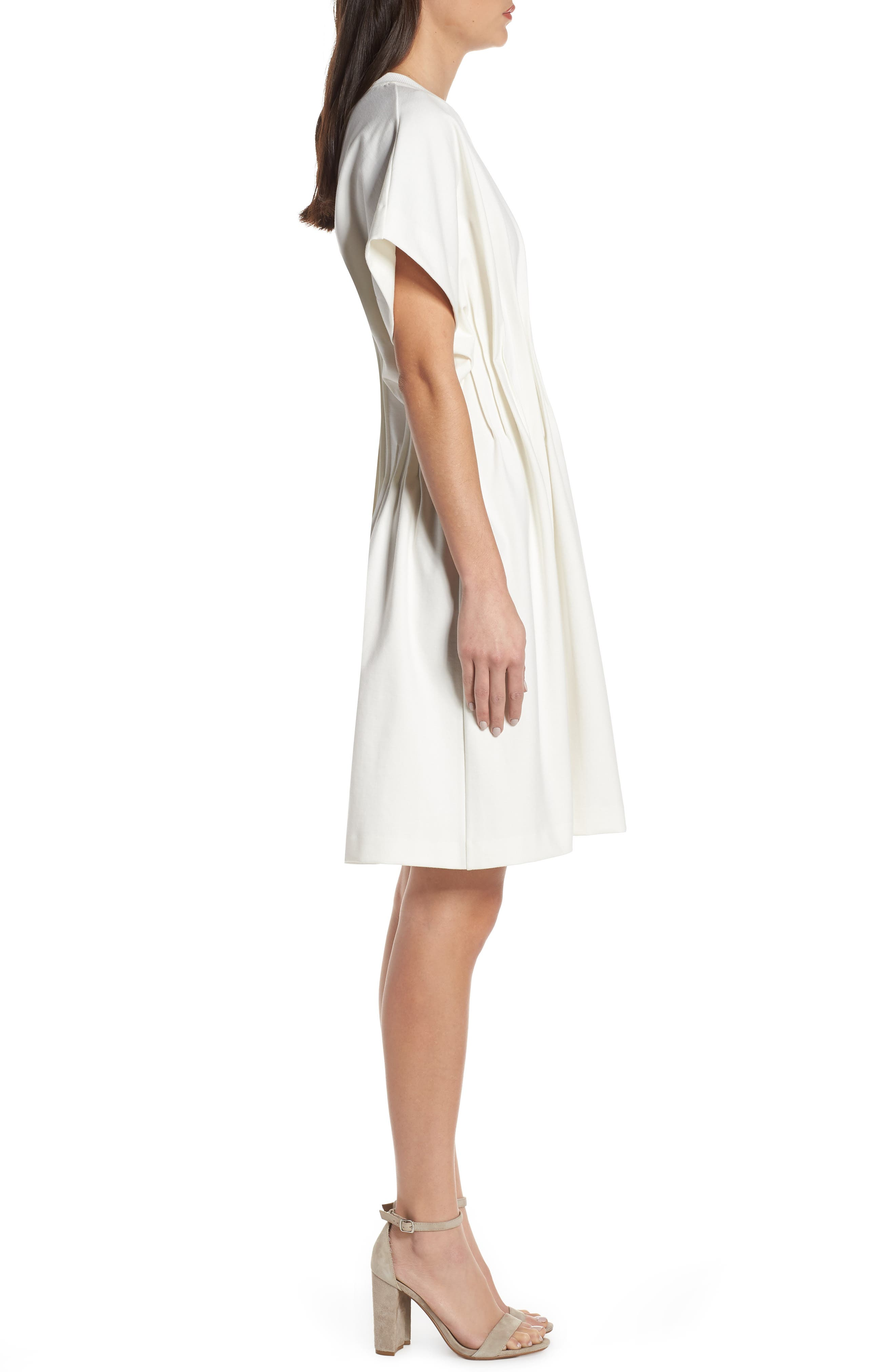 CAARA, Looma T-Shirt Dress, Alternate thumbnail 4, color, WHITE