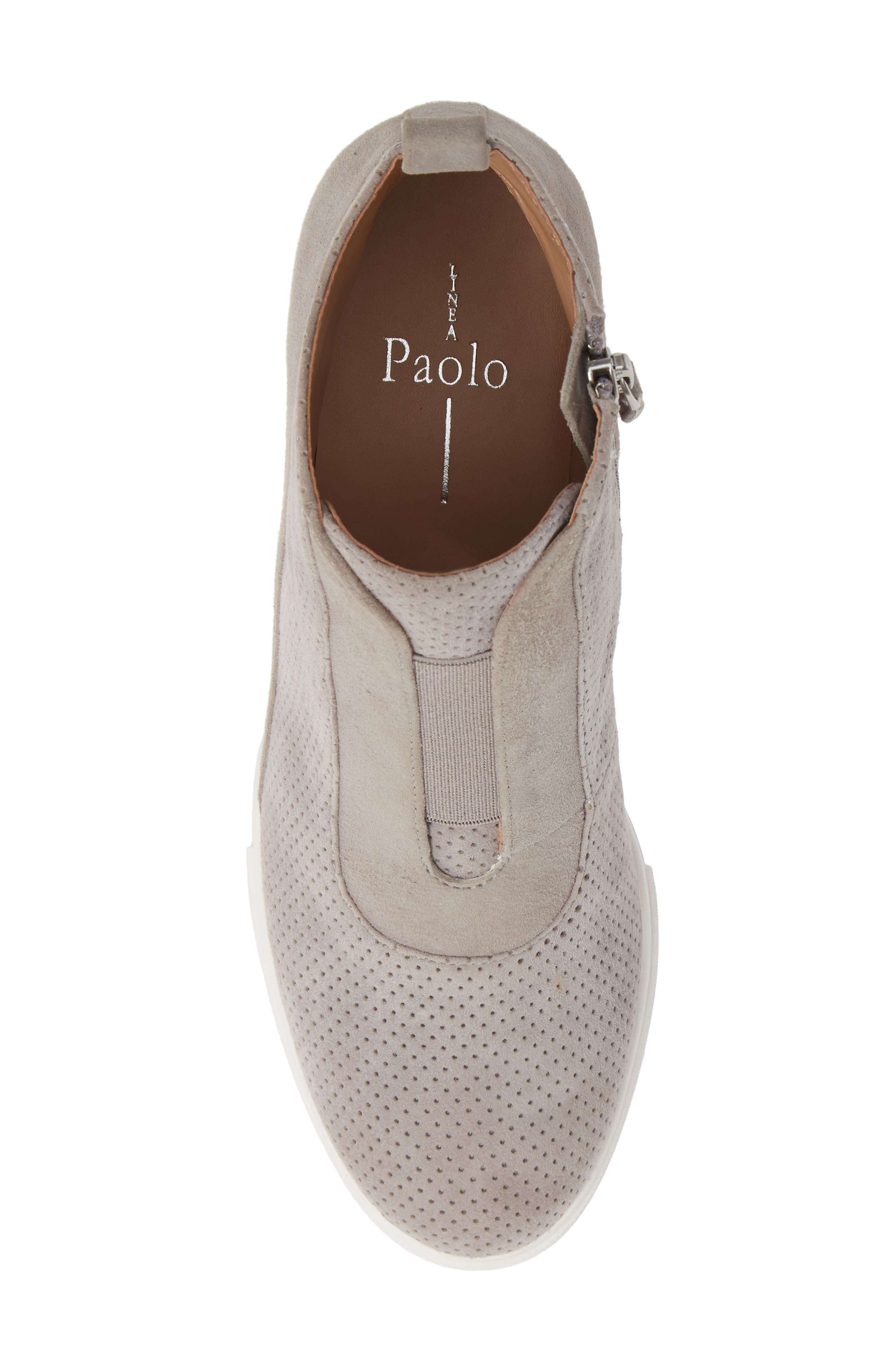 LINEA PAOLO, Anna Wedge Sneaker, Alternate thumbnail 5, color, ROCK PER SUEDE
