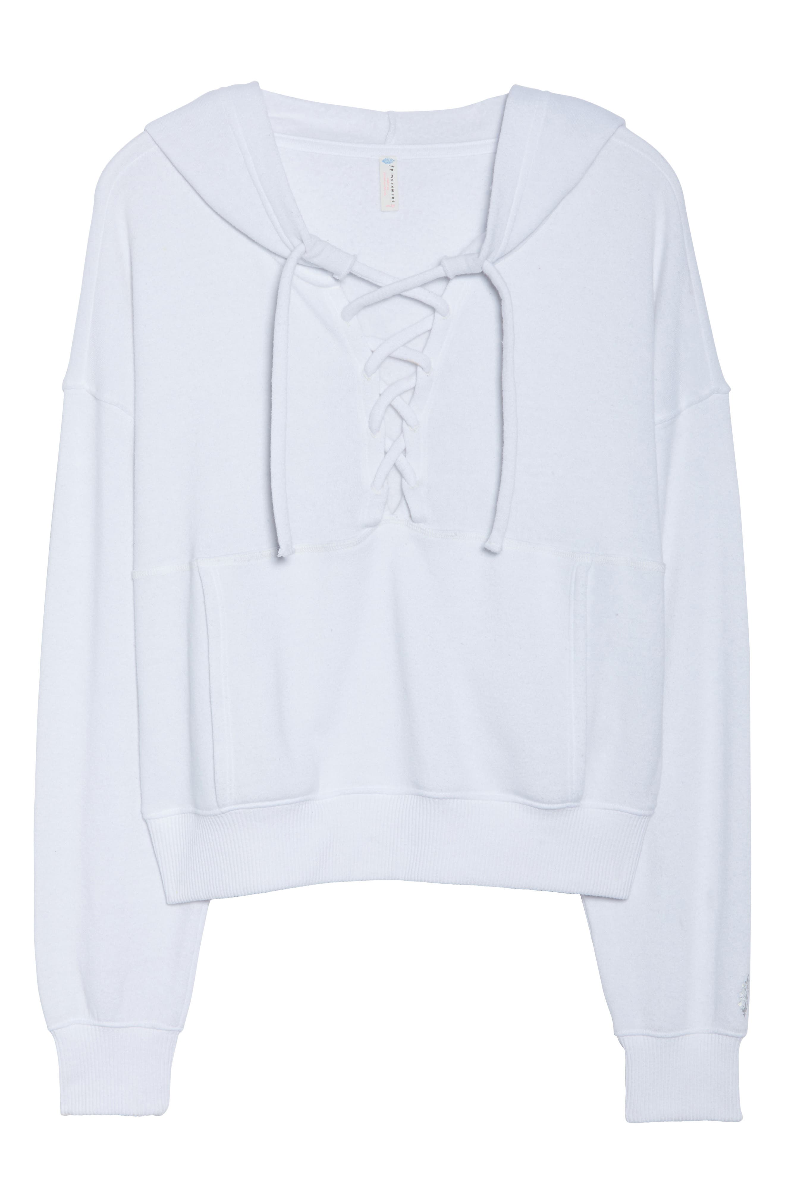 FREE PEOPLE MOVEMENT, Believer Hoodie, Alternate thumbnail 7, color, WHITE