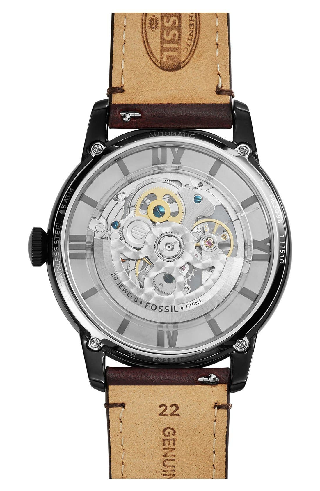 FOSSIL, 'Townsman' Automatic Leather Strap Watch, 44mm, Alternate thumbnail 3, color, BROWN/ AMBER