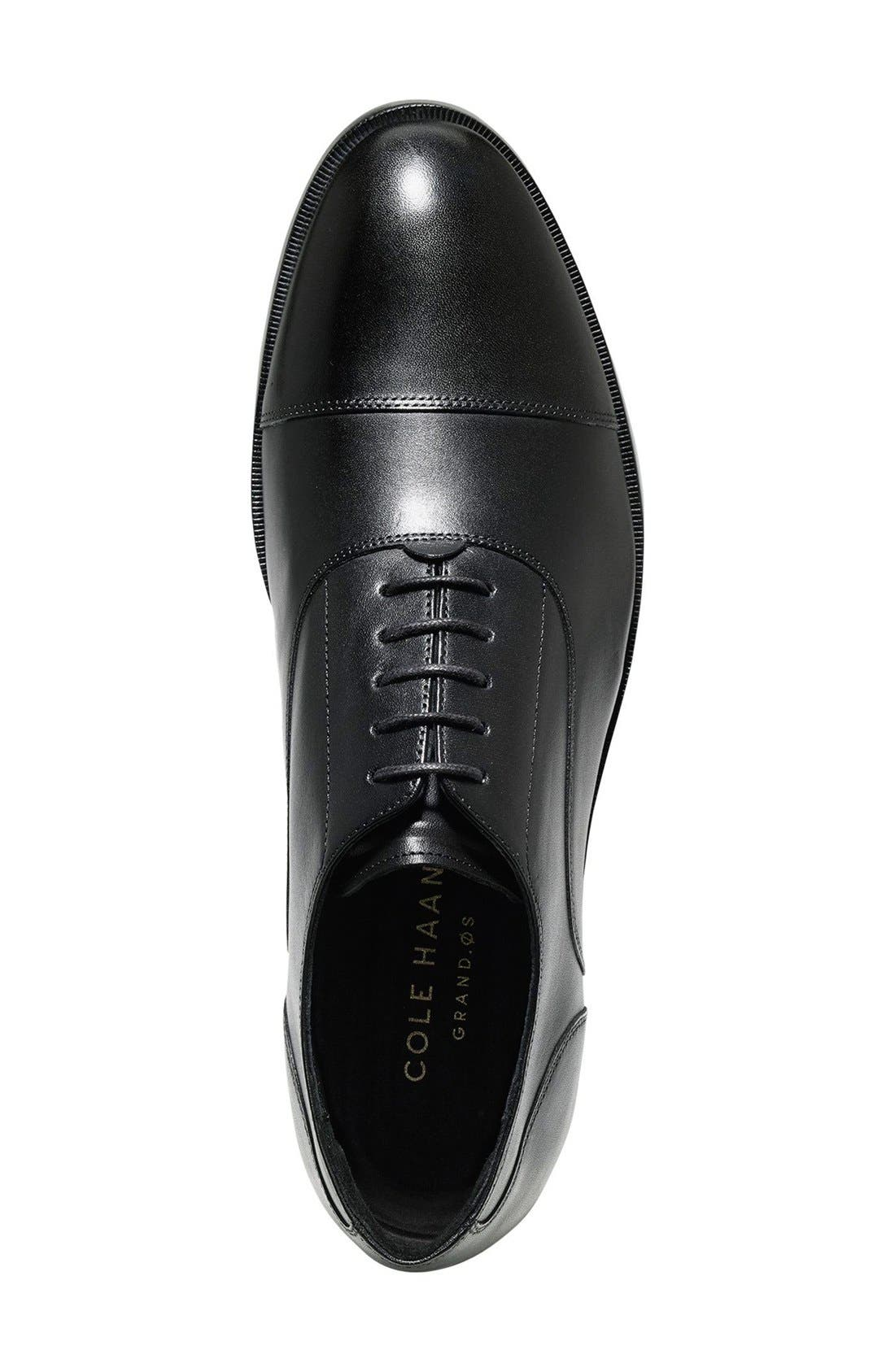 COLE HAAN, Harrison Grand Cap Toe Oxford, Alternate thumbnail 8, color, BLACK/ BLACK LEATHER