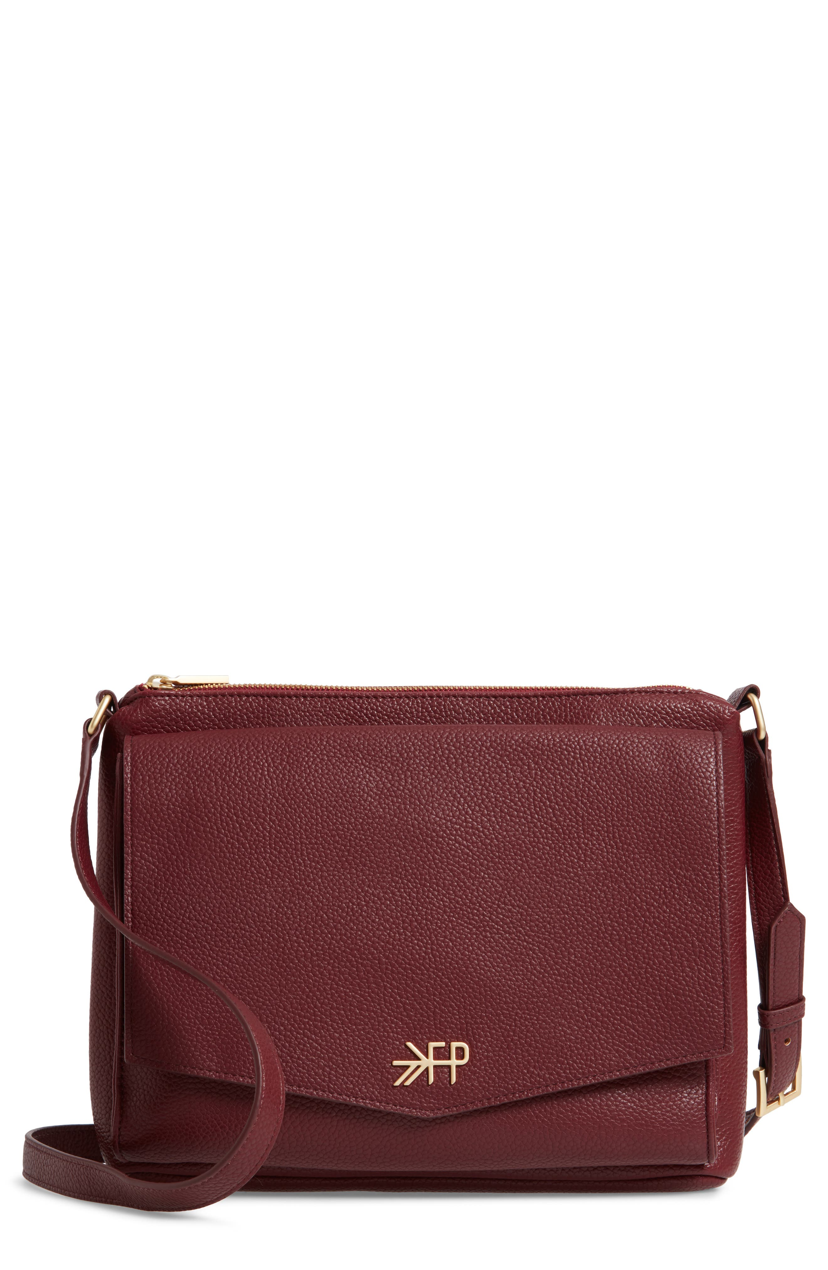 FRESHLY PICKED Classic Faux Leather Crossbody Diaper Bag, Main, color, BURGUNDY