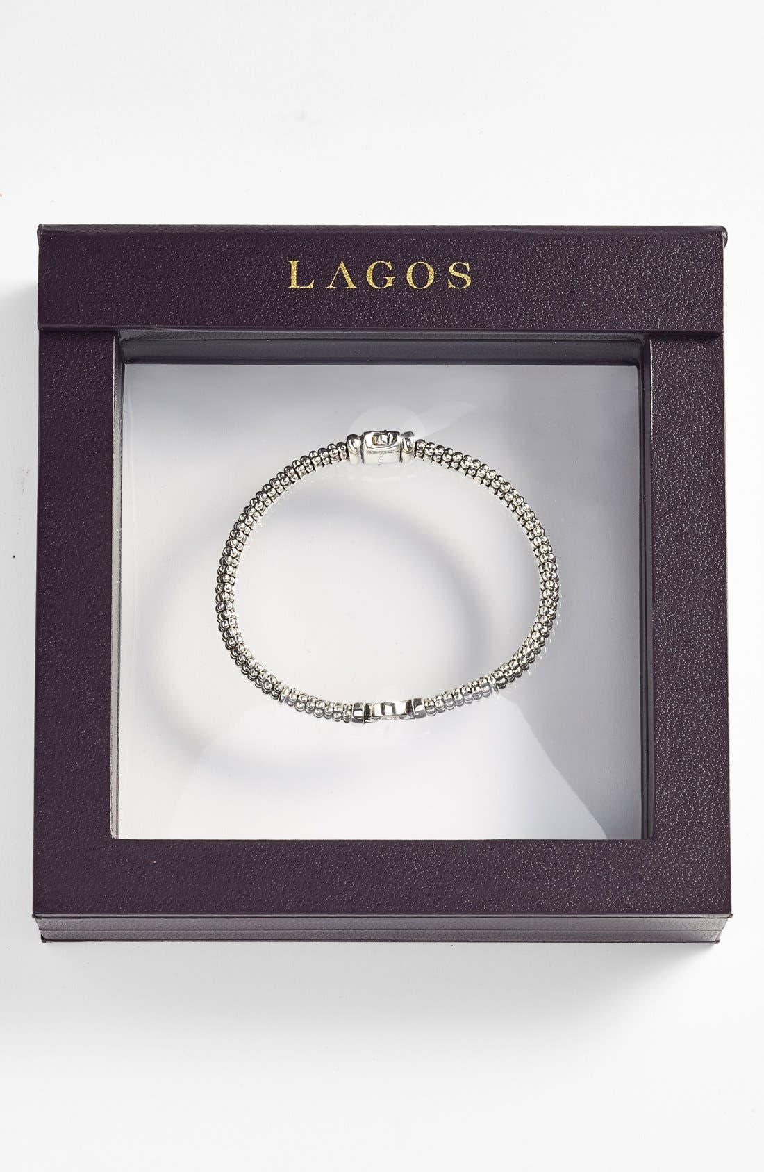 LAGOS, Enso Boxed Circle Station Caviar Rope Bracelet, Alternate thumbnail 7, color, STERLING SILVER