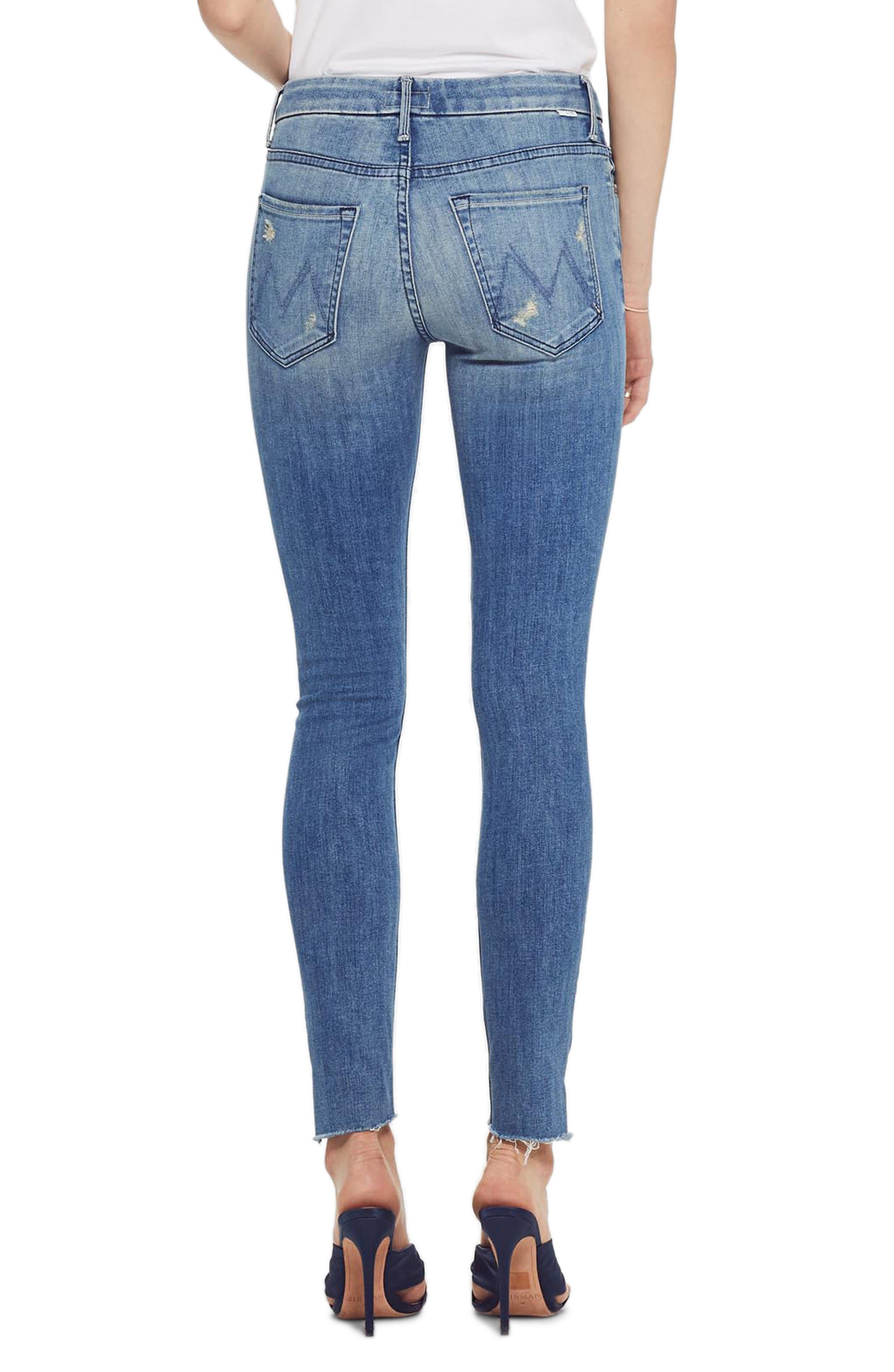 MOTHER, The Looker Frayed Step Hem Ankle Skinny Jeans, Alternate thumbnail 2, color, WHERE THERES SMOKE