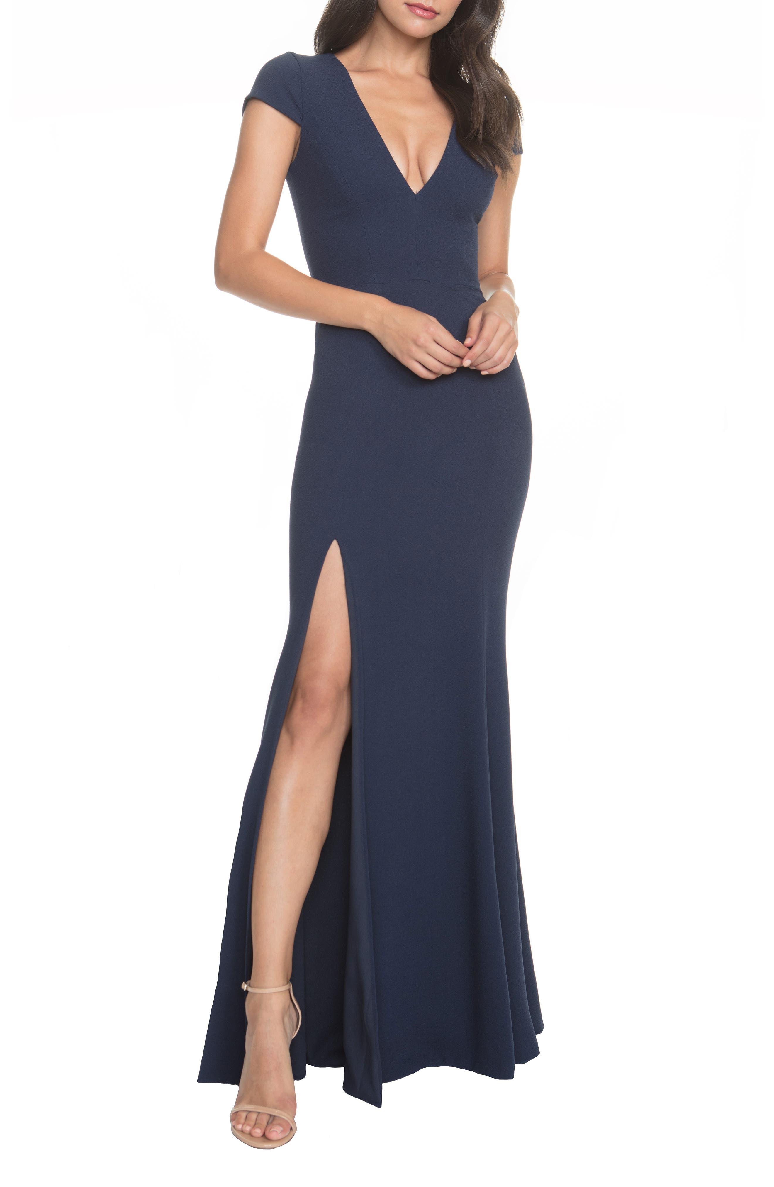 Dress The Population Karla V-Neck Trumpet Gown, Blue