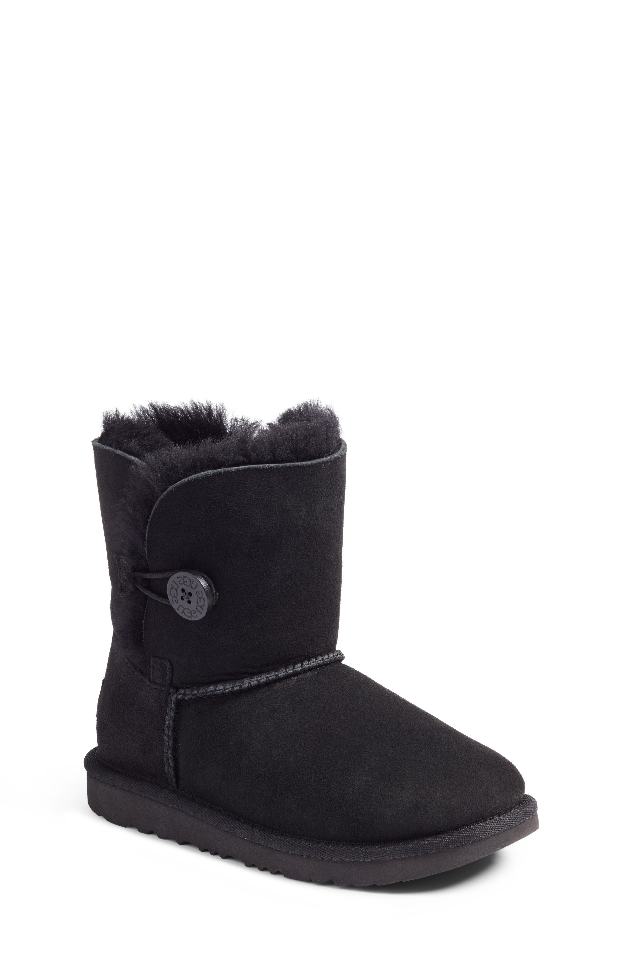 UGG<SUP>®</SUP>, Bailey Button II Water Resistant Genuine Shearling Boot, Main thumbnail 1, color, BLACK SUEDE