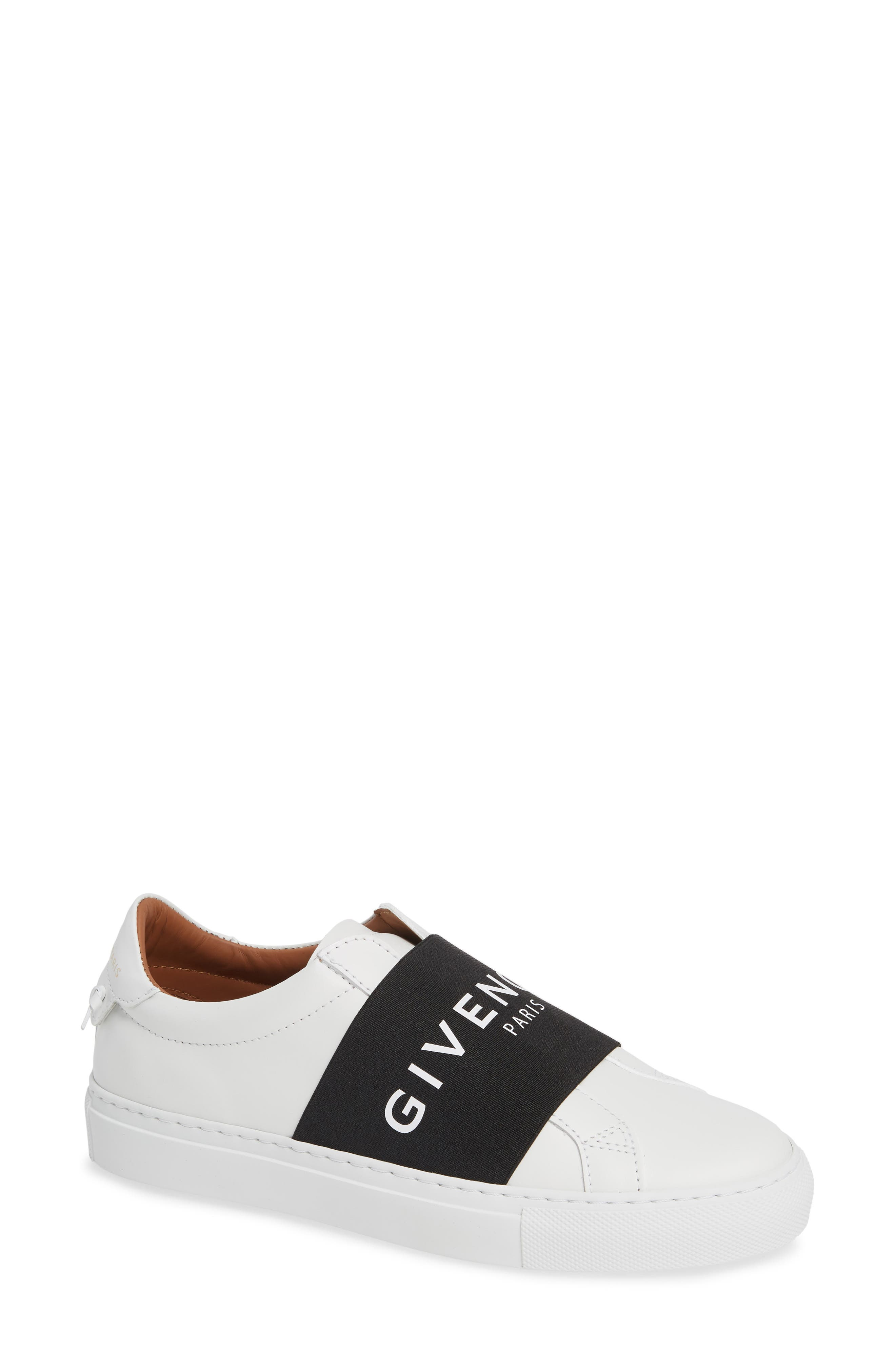 GIVENCHY, Logo Strap Slip-On Sneaker, Main thumbnail 1, color, WHITE