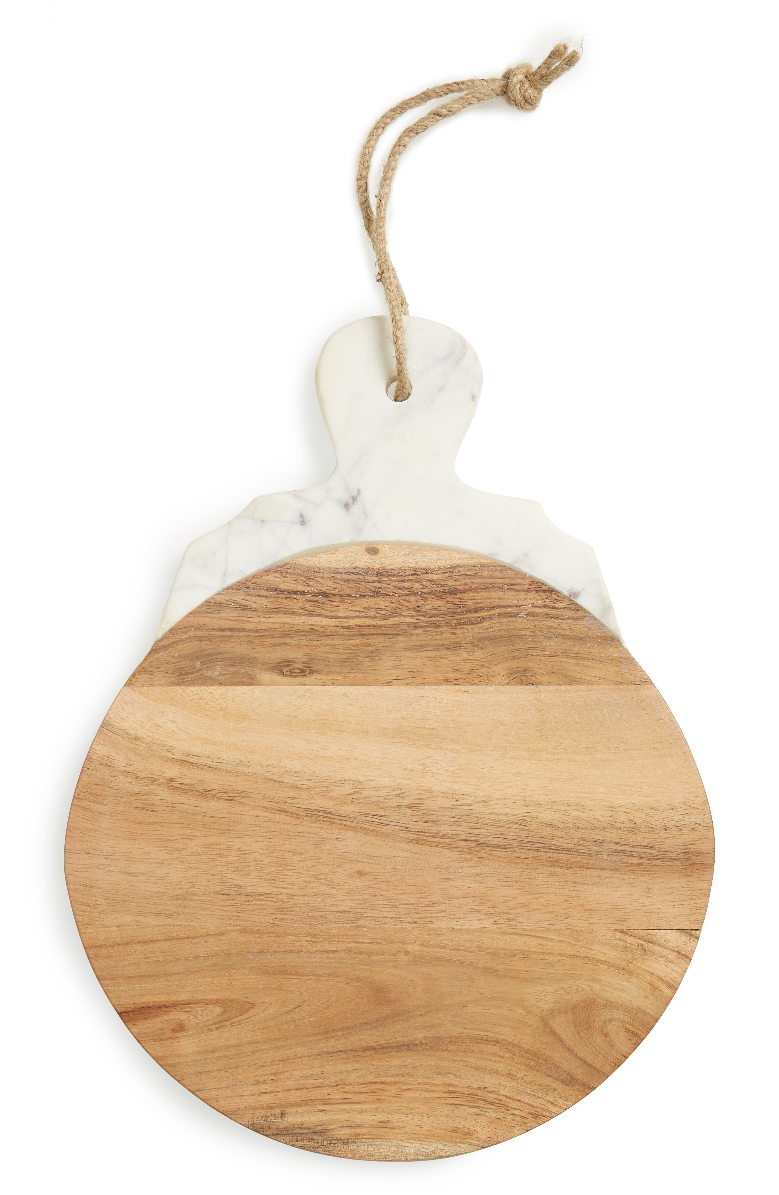 NORDSTROM AT HOME, Lavender Marble & Wood Round Tray, Main thumbnail 1, color, BROWN