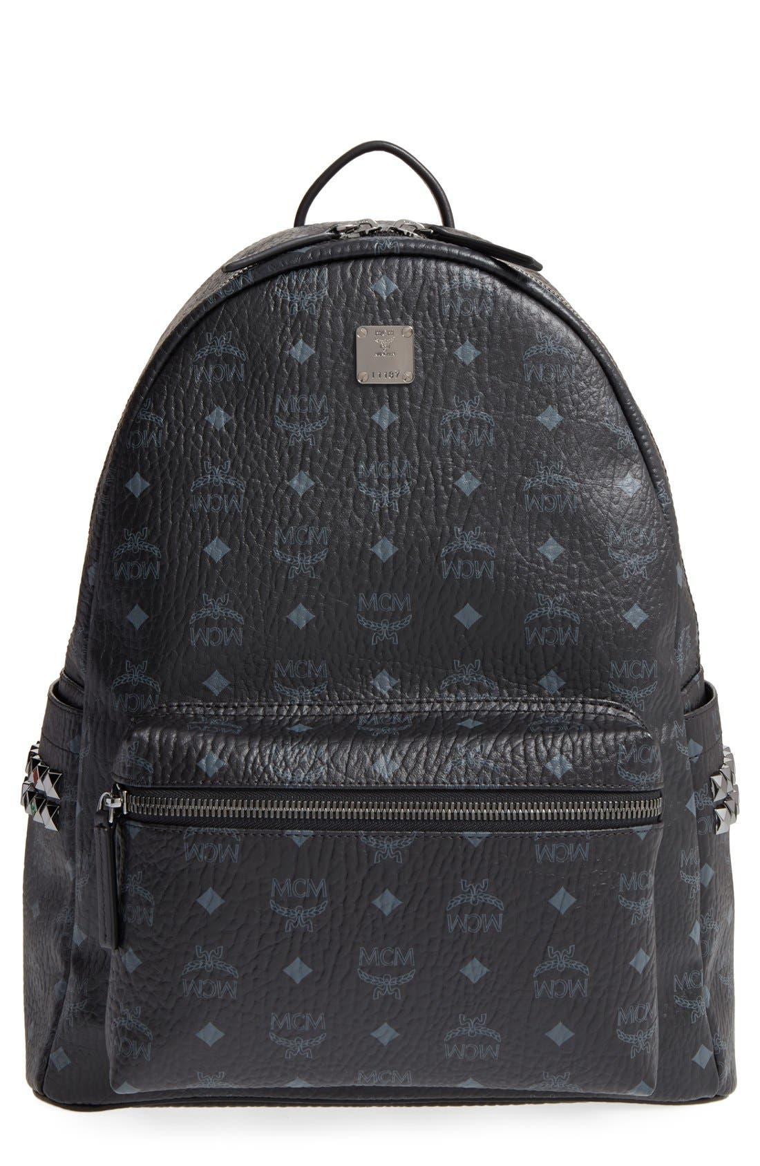 MCM, Medium Stark Visetos Coated Canvas Backpack, Main thumbnail 1, color, BLACK