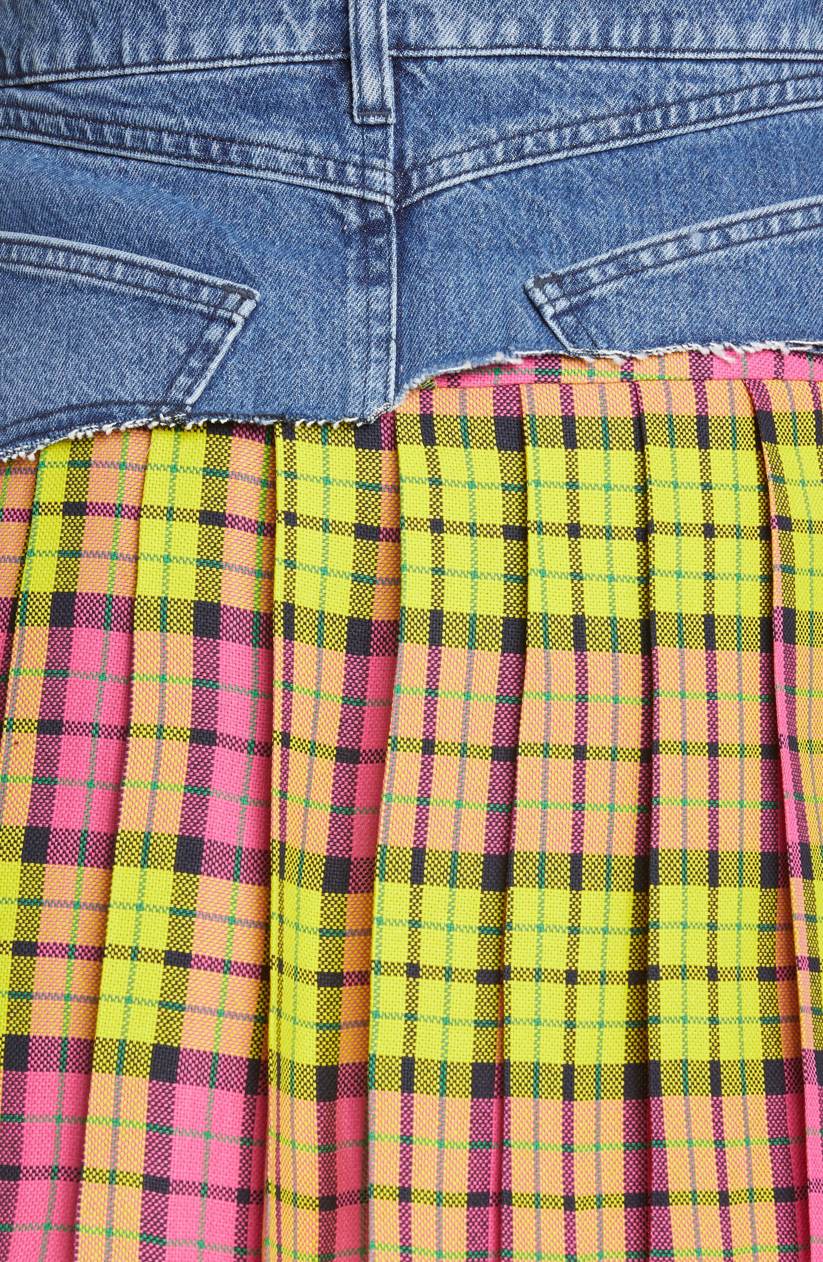 VETEMENTS, Schoolgirl Skirt, Alternate thumbnail 5, color, BLUE