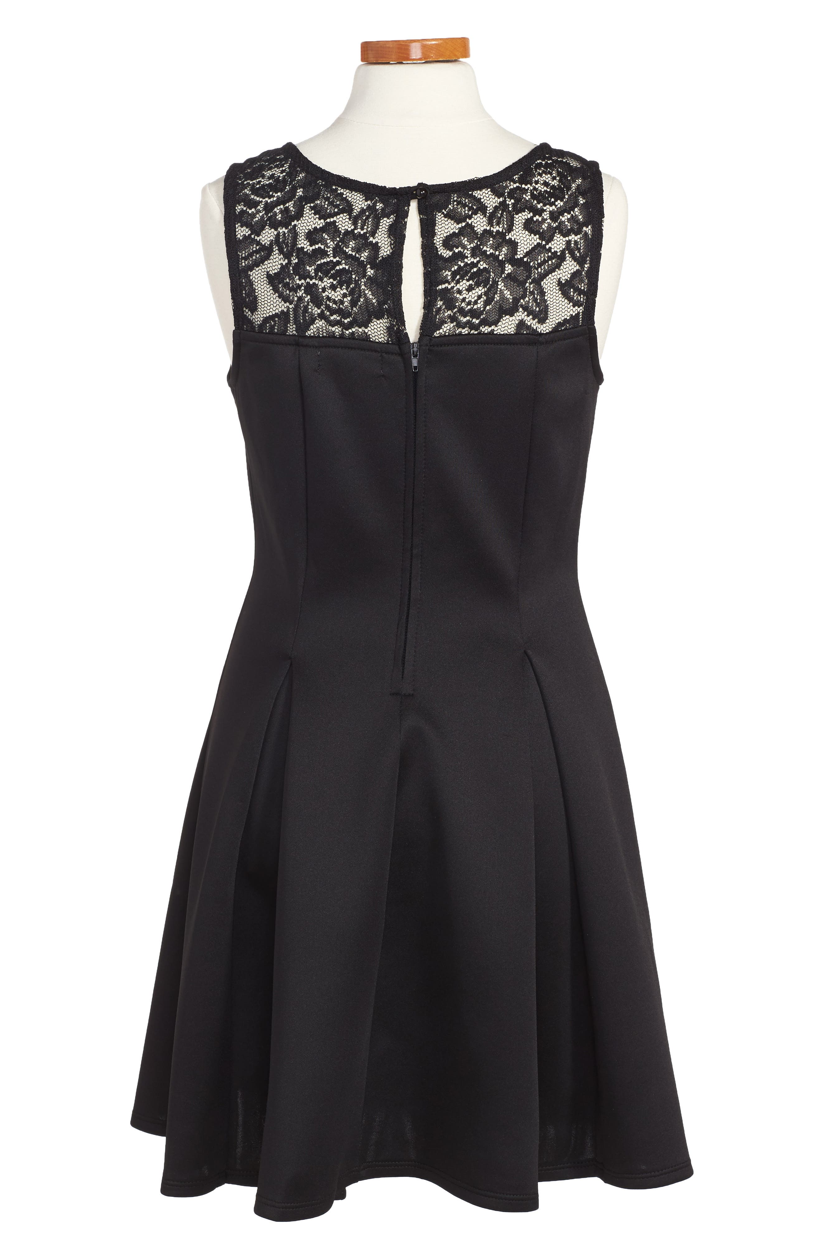 LOVE, NICKIE LEW, Pleated Dress, Alternate thumbnail 2, color, BLACK