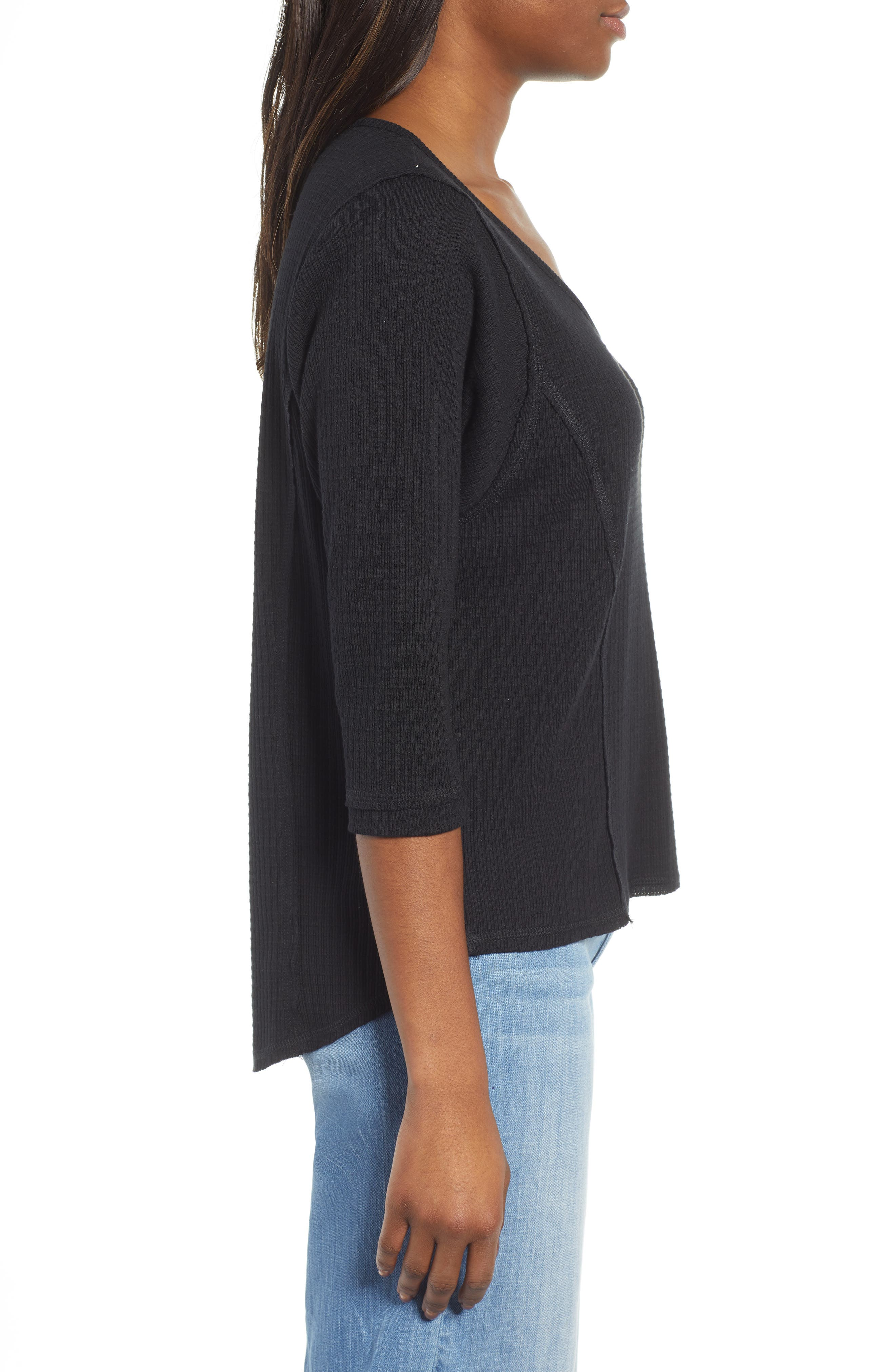 CASLON<SUP>®</SUP>, Off-Duty Waffle Knit Tee, Alternate thumbnail 3, color, BLACK