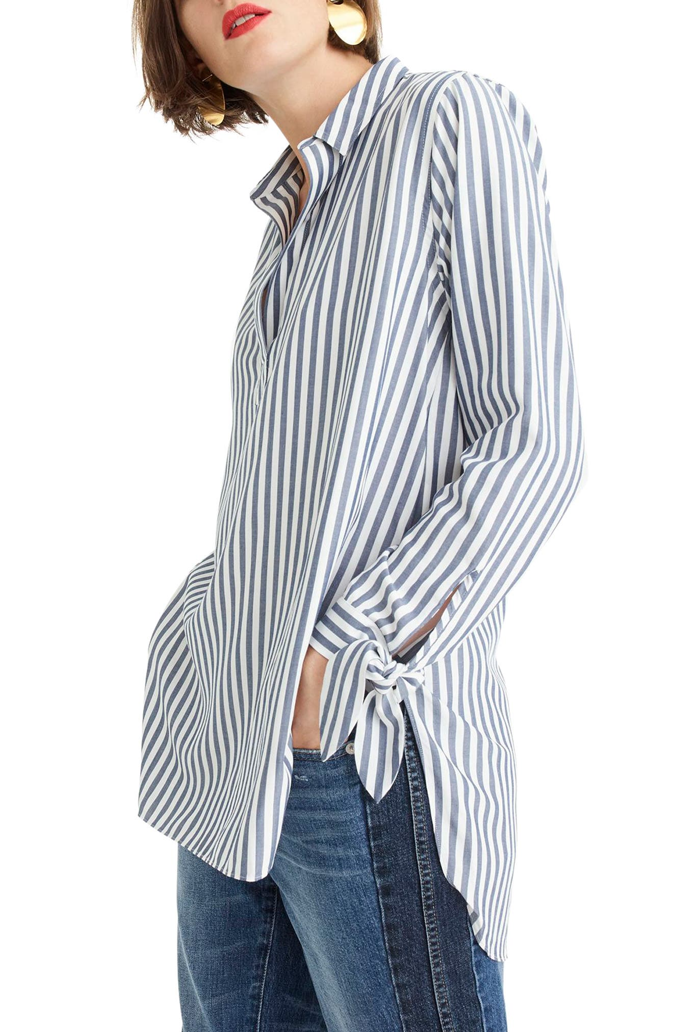 J.CREW, Collared Tie-Sleeve Popover Stripe Shirt, Alternate thumbnail 3, color, 400