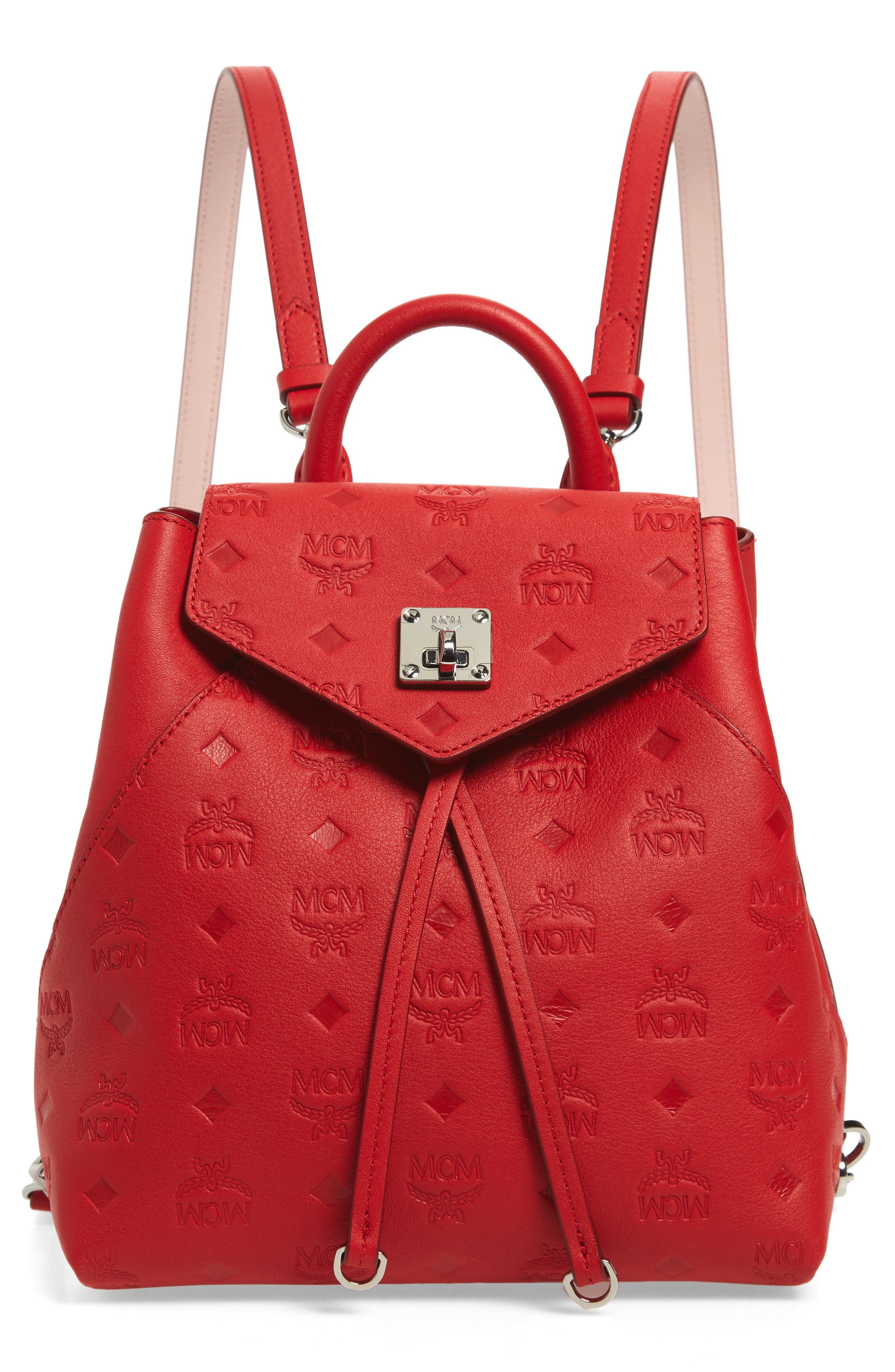 MCM, Essential Monogram Leather Small Backpack, Main thumbnail 1, color, VIVA RED
