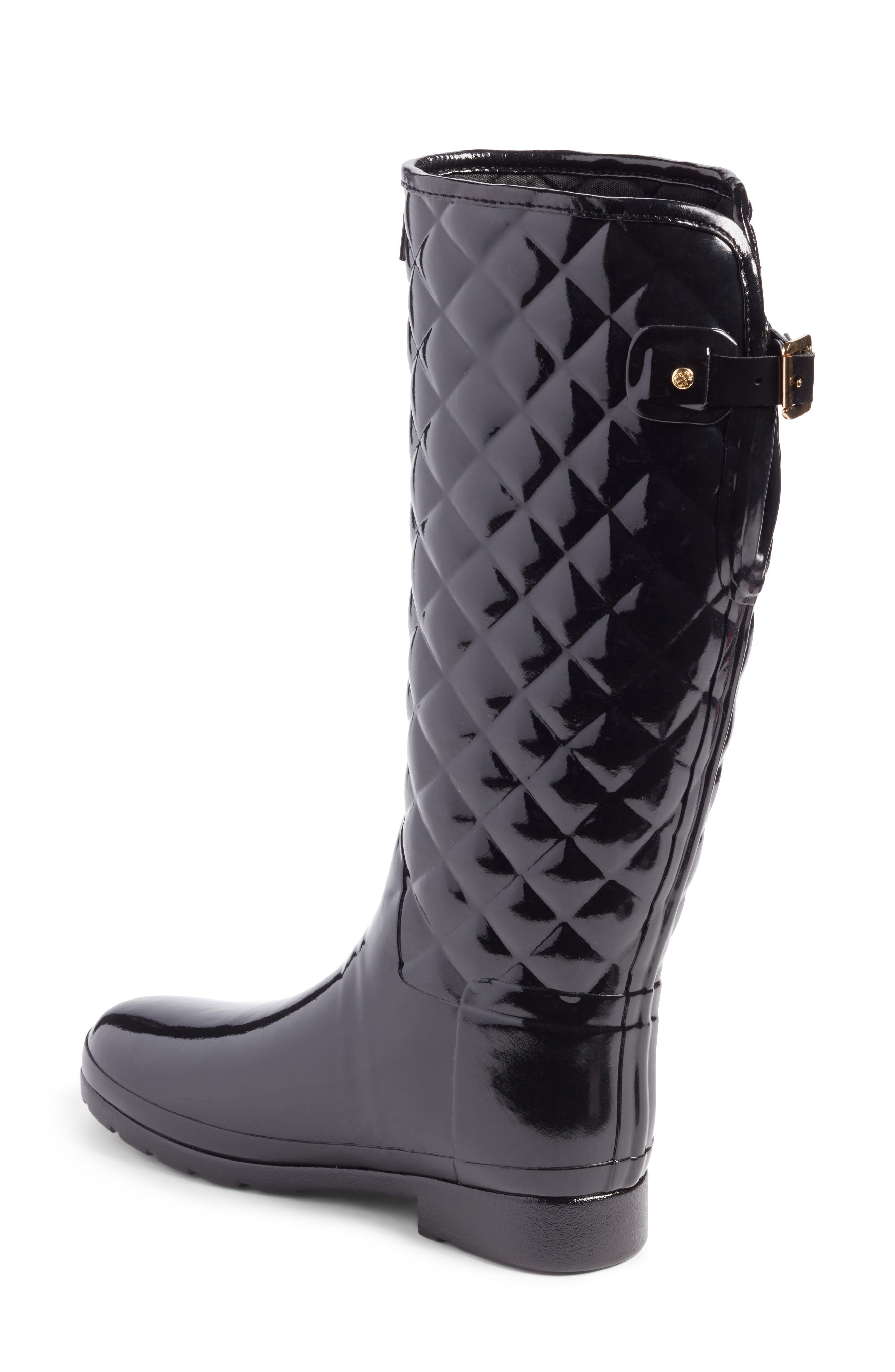 HUNTER, Original Refined High Gloss Quilted Waterproof Rain Boot, Alternate thumbnail 2, color, BLACK