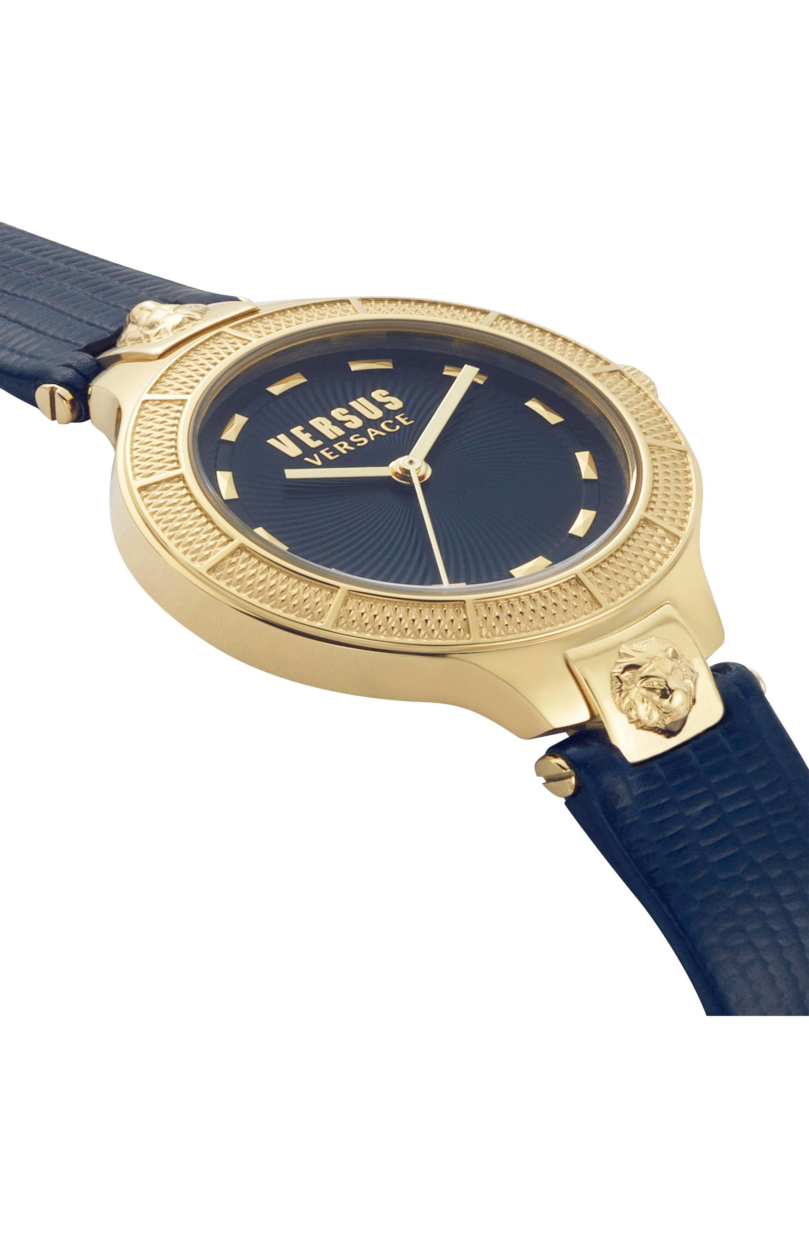 VERSUS VERSACE, Claremont Leather Strap Watch, 32mm, Alternate thumbnail 3, color, BLUE/ GOLD