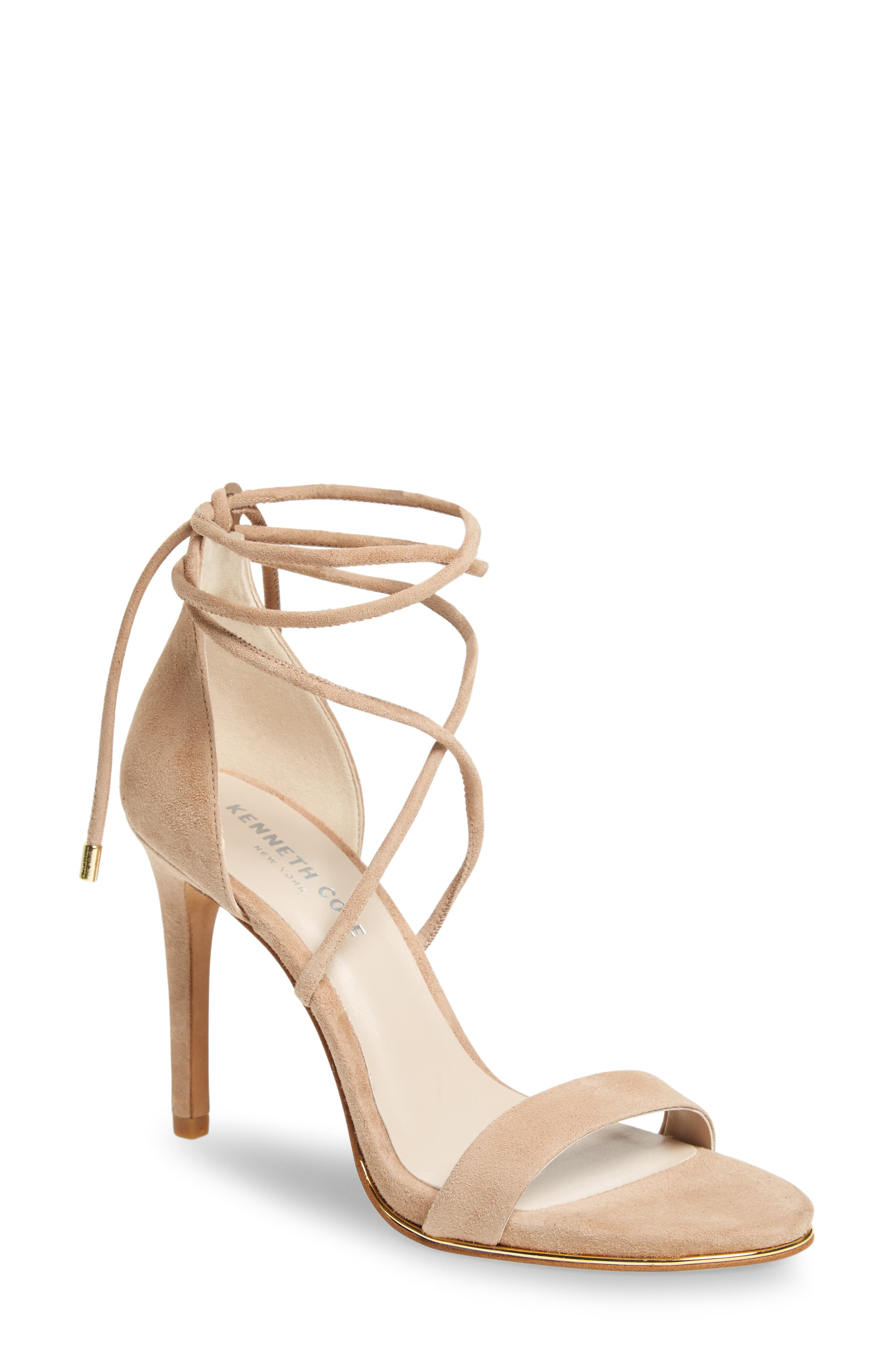 KENNETH COLE NEW YORK, Berry Wraparound Sandal, Main thumbnail 1, color, ALMOND SUEDE