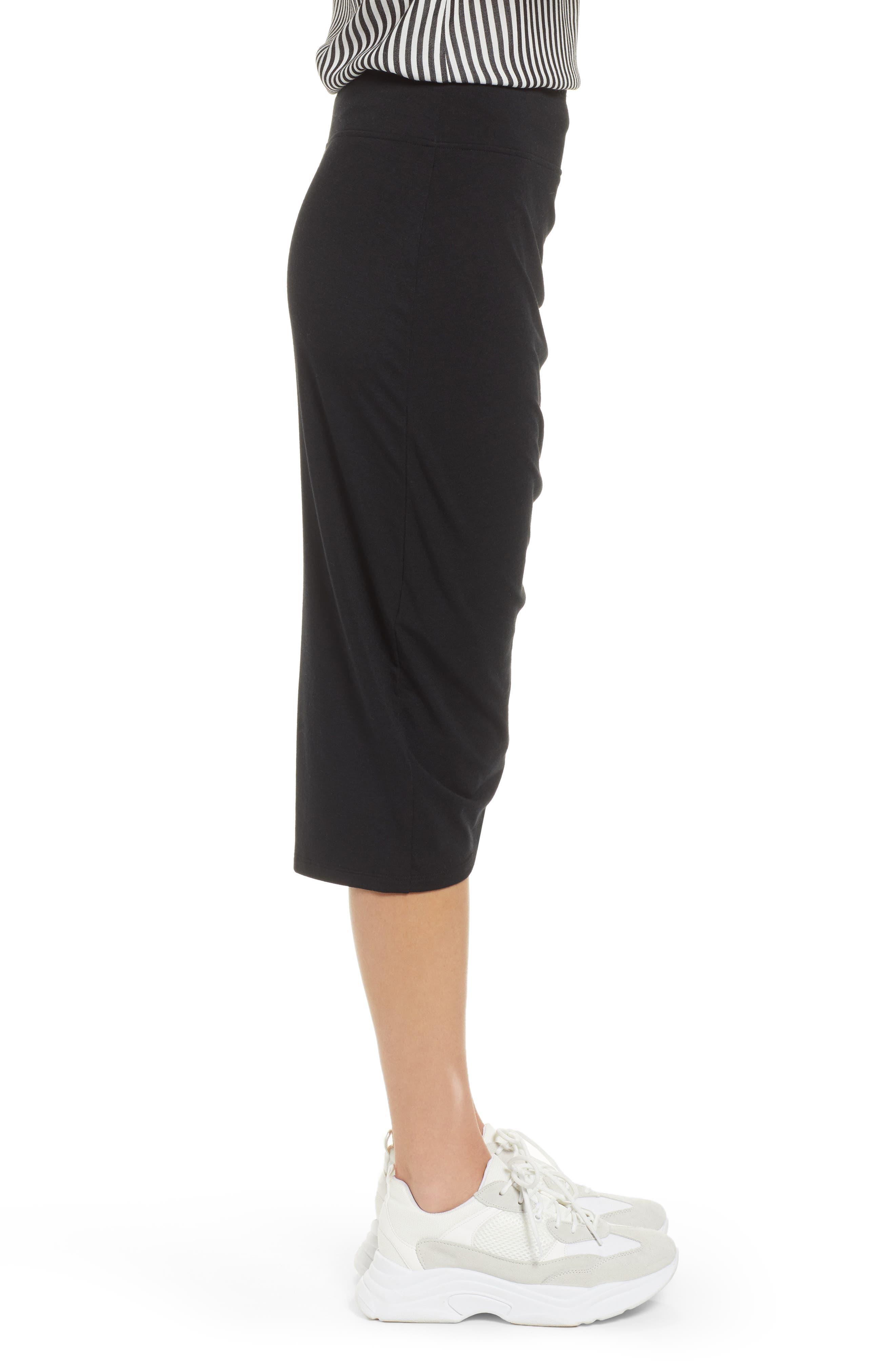 TREASURE & BOND, Shirred Side Midi Skirt, Alternate thumbnail 3, color, BLACK