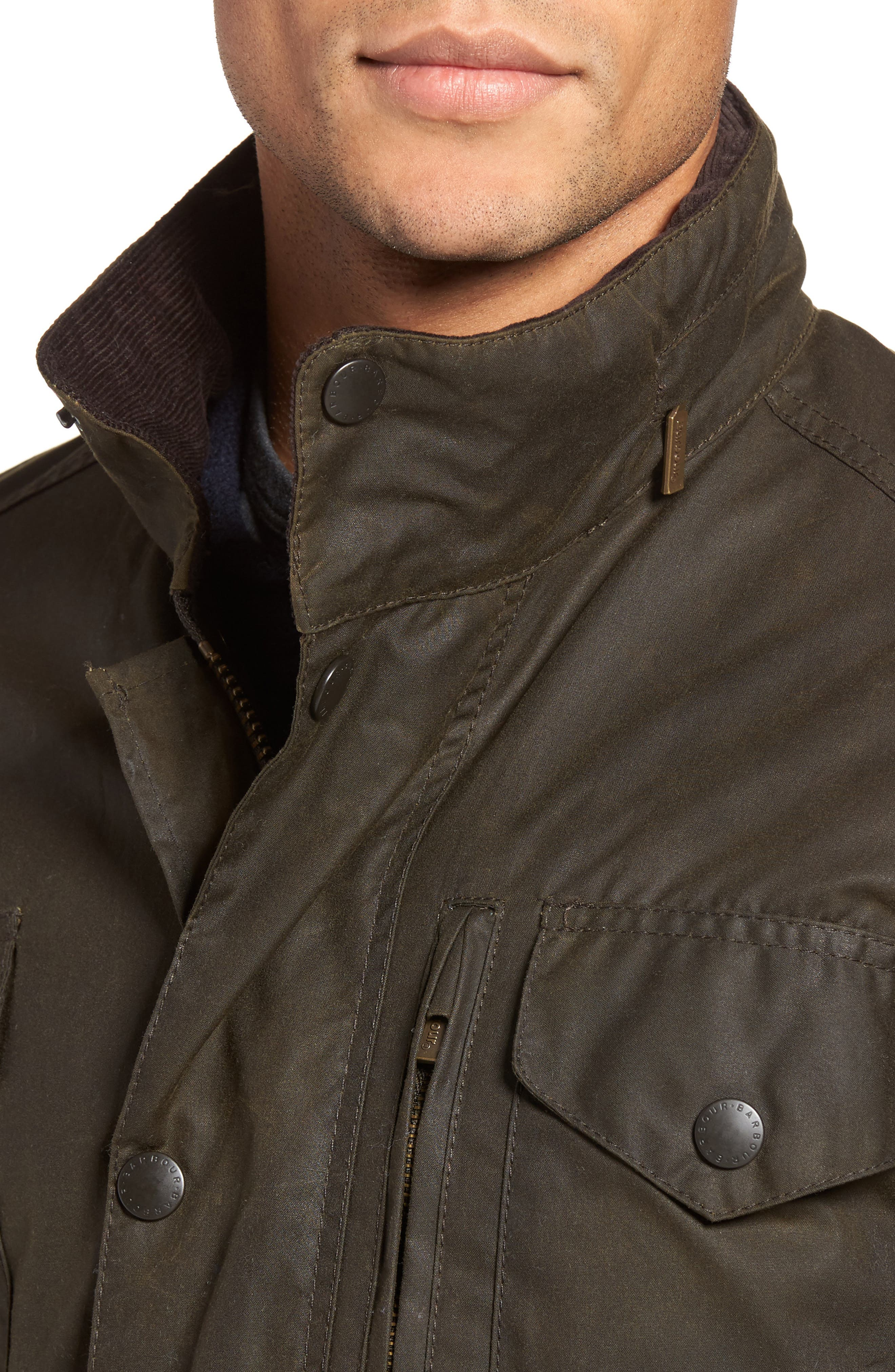 BARBOUR, Sapper Regular Fit Weatherproof Waxed Cotton Jacket, Alternate thumbnail 5, color, OLIVE