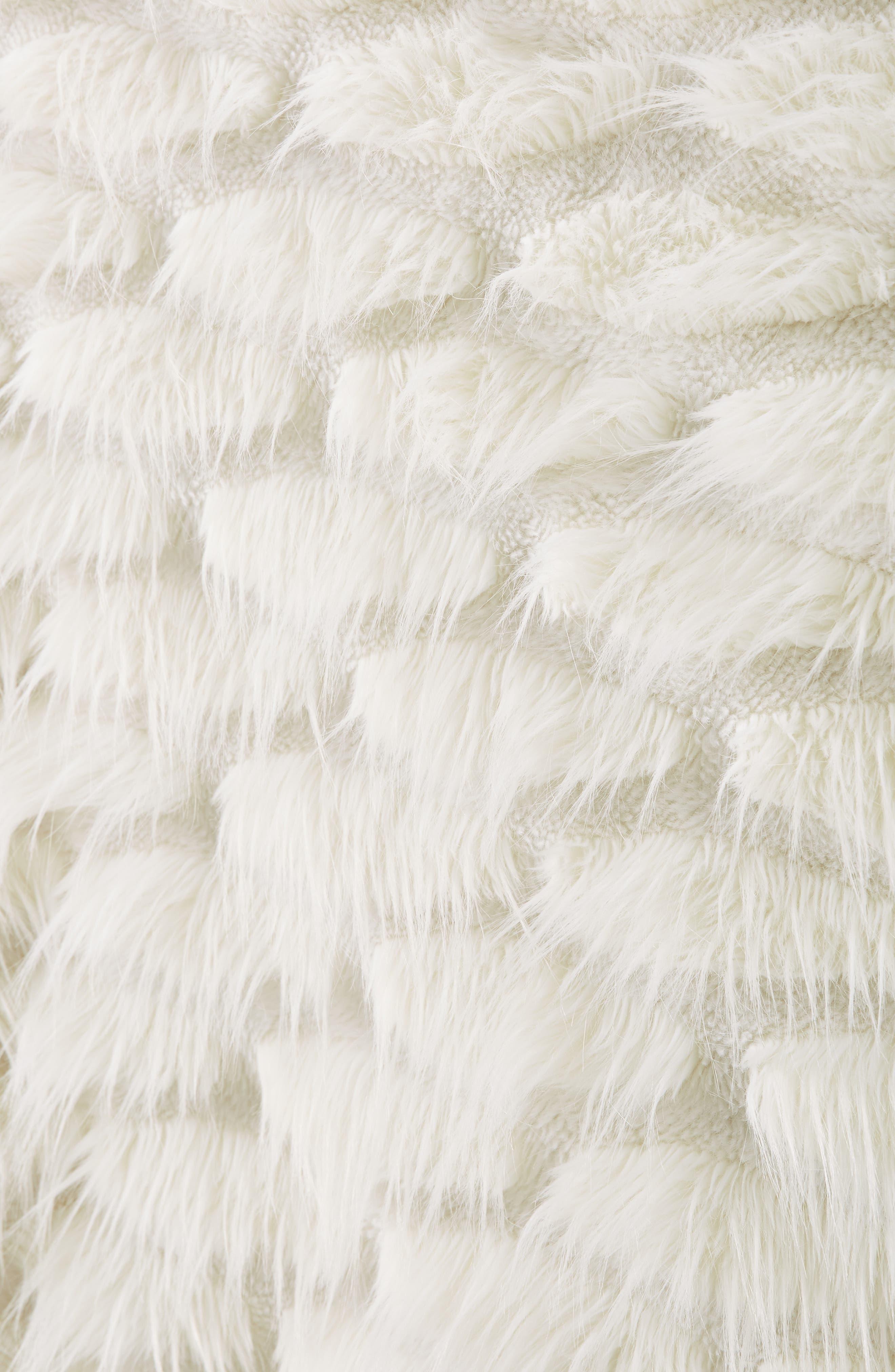 ANTHROPOLOGIE, Faux Fur Throw Blanket, Alternate thumbnail 2, color, WHITE