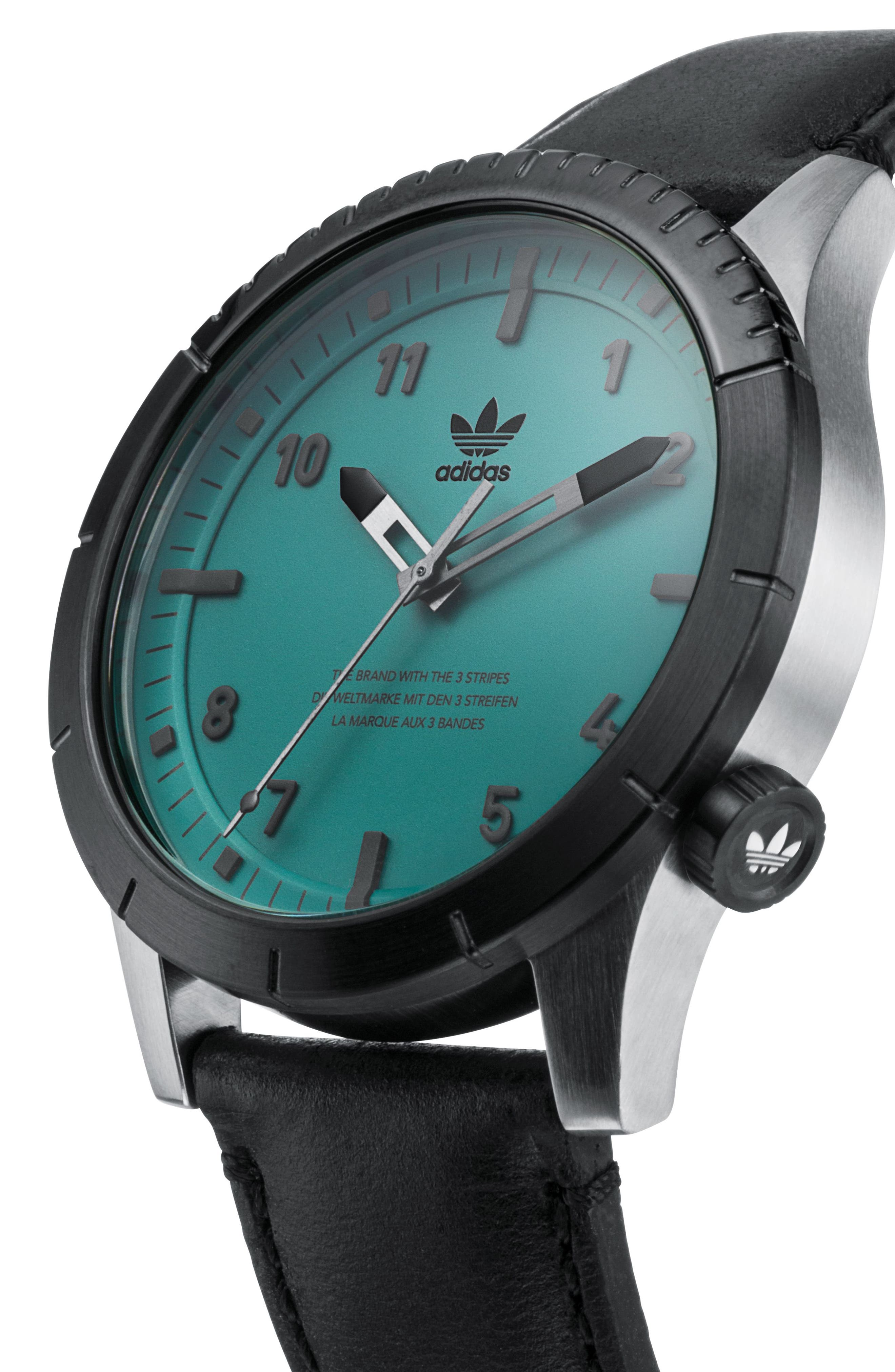 ADIDAS, Cypher Leather Strap Watch, 42mm, Alternate thumbnail 4, color, SILVER/ BLACK/ GREEN