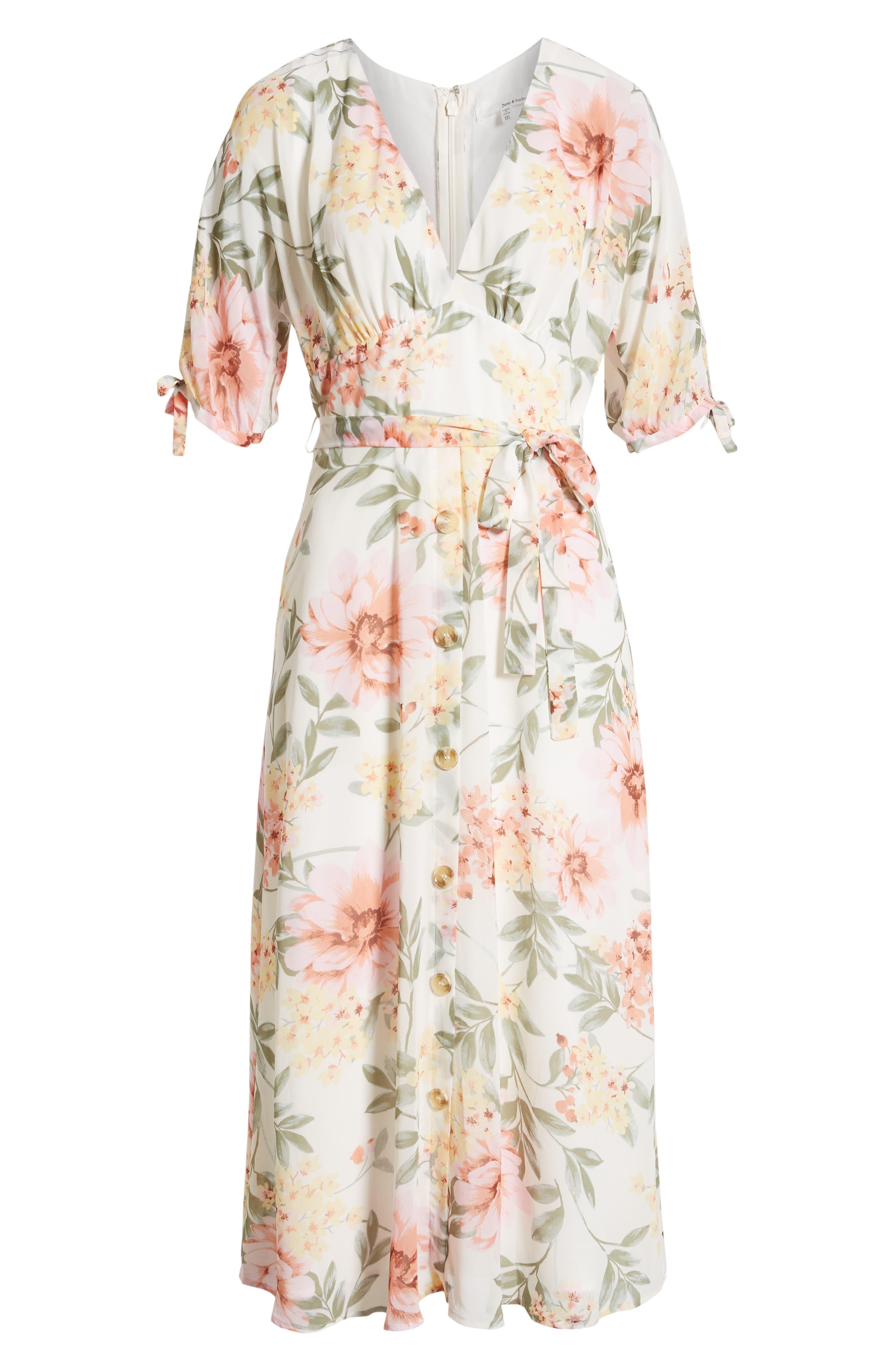 JUNE & HUDSON, Floral V-Neck Tie Front Dress, Alternate thumbnail 7, color, IVORY/ ROSE/ SAGE