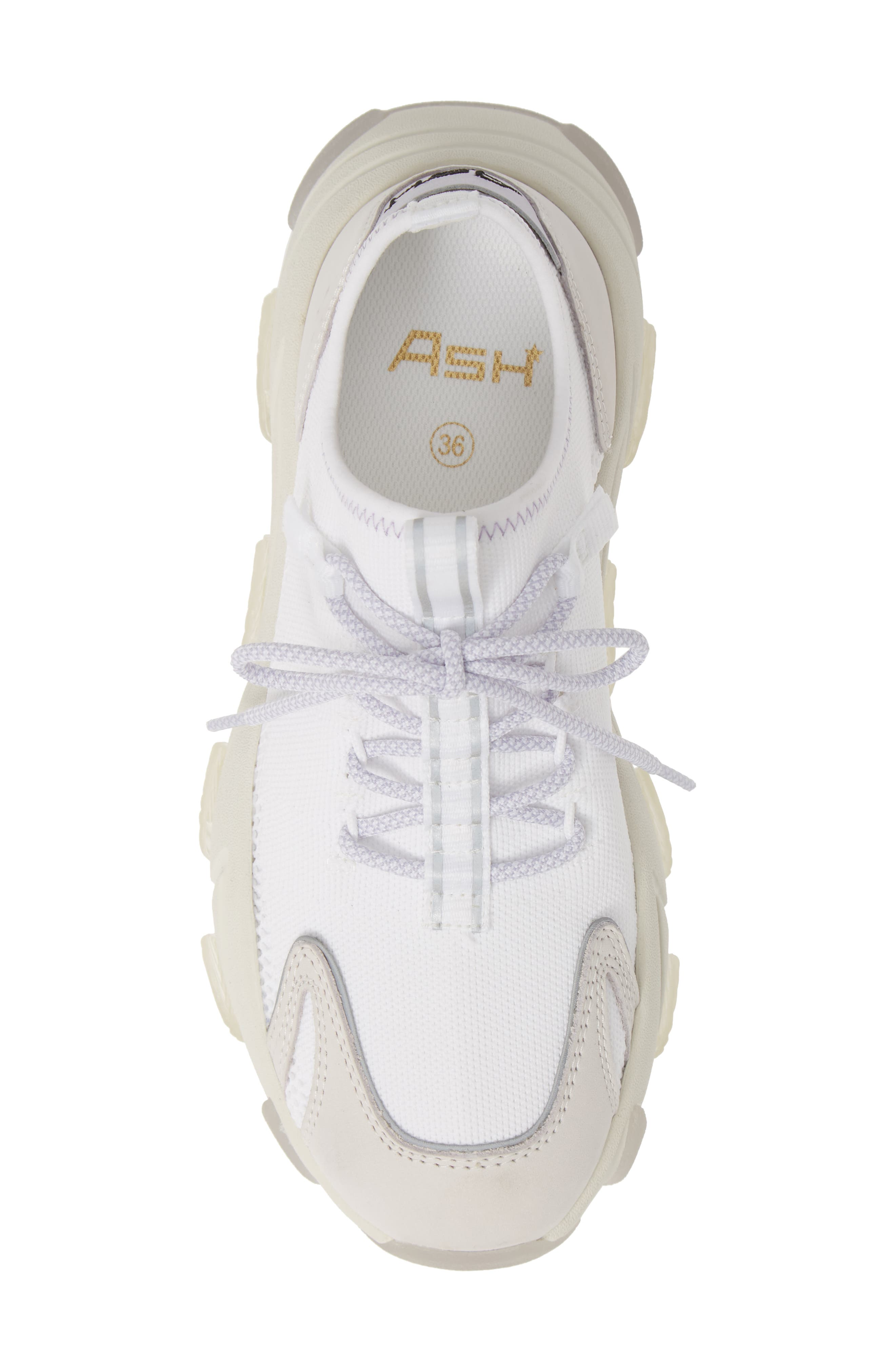 ASH, Excape Sneaker, Alternate thumbnail 5, color, WHITE/ SILVER/ LAVENDER FABRIC