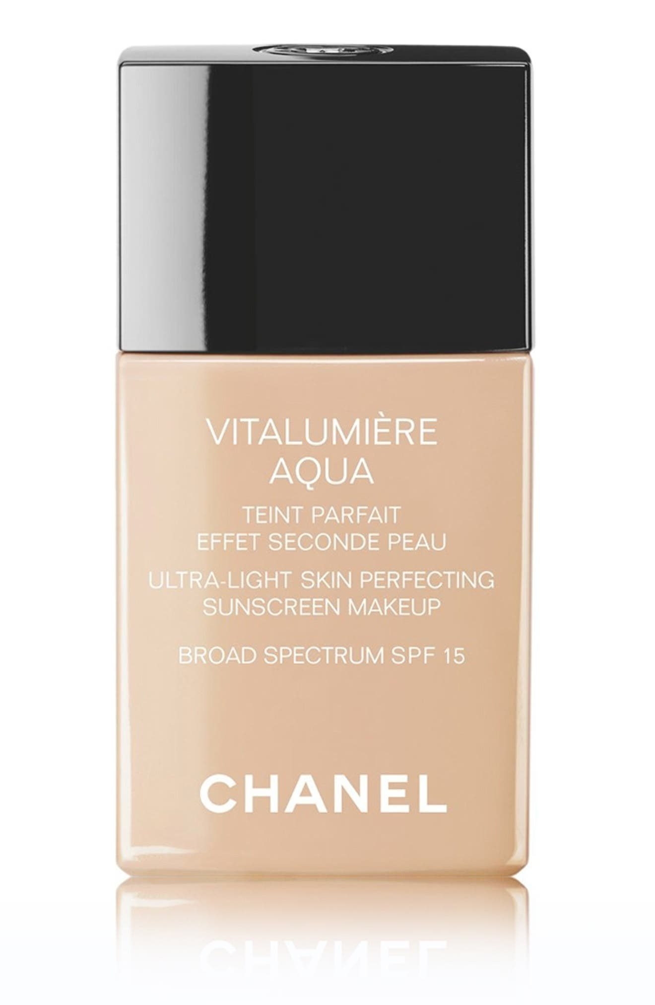 CHANEL, VITALUMIÈRE AQUA<br />Ultra-Light Skin Perfecting Sunscreen Makeup Broad Spectrum SPF 15, Main thumbnail 1, color, 12 BEIGE ROSE