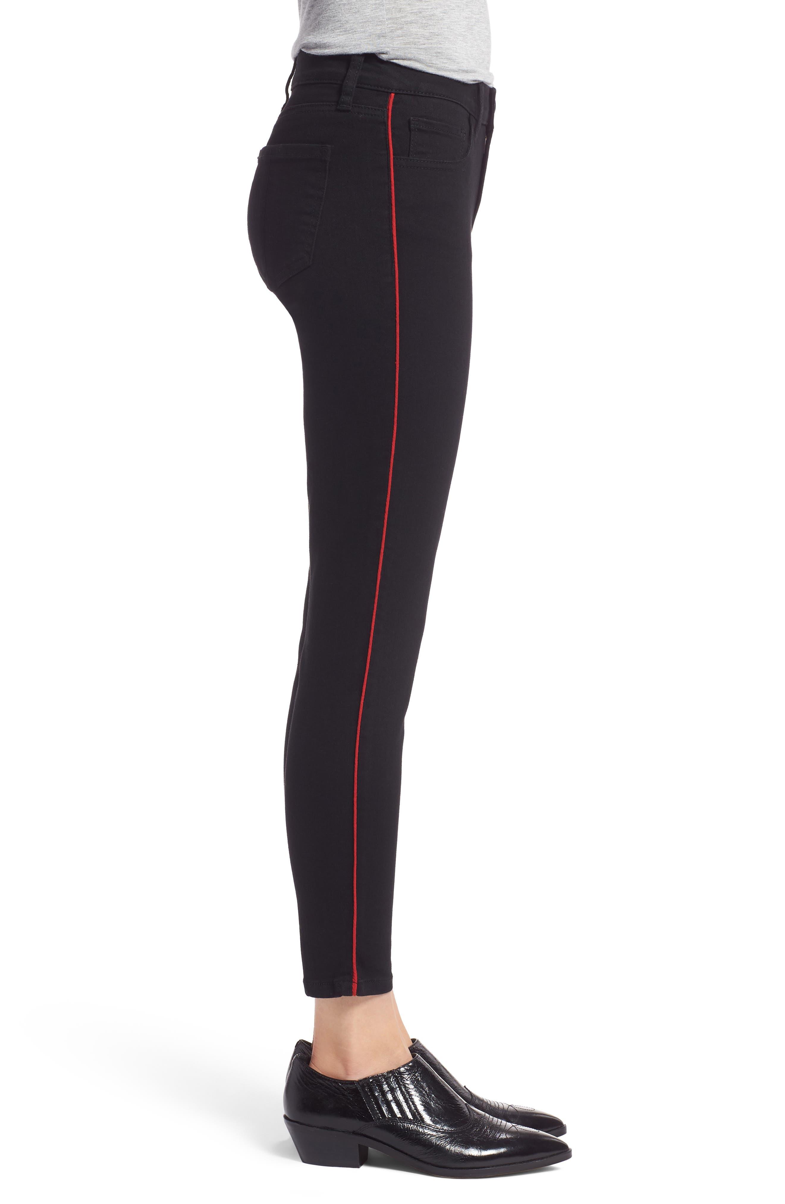 PROSPERITY DENIM, Side Stripe Ankle Skinny Jeans, Alternate thumbnail 4, color, BLACK