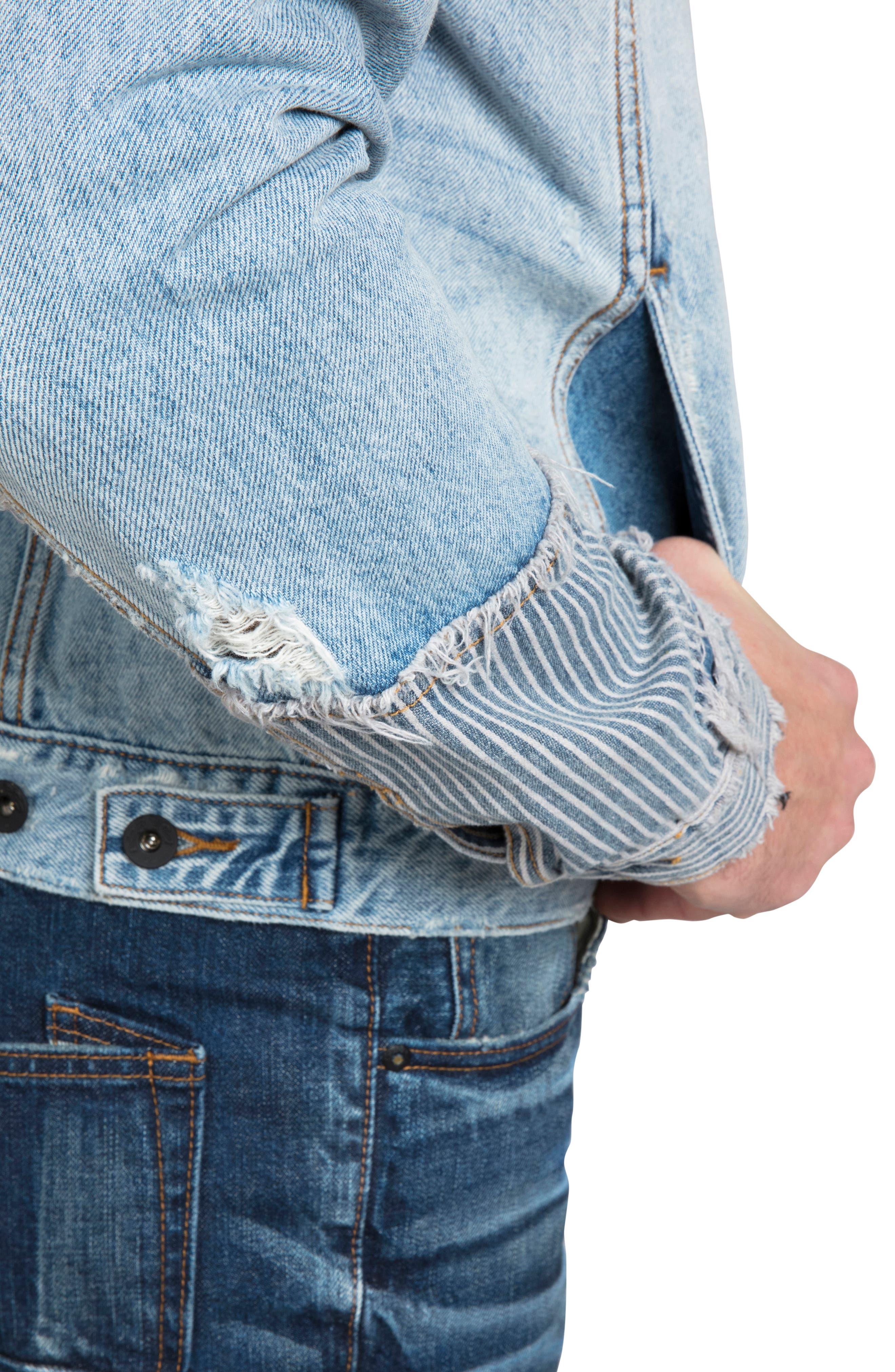 PRPS, Rip & Repair Denim Jacket, Alternate thumbnail 3, color, COOLED