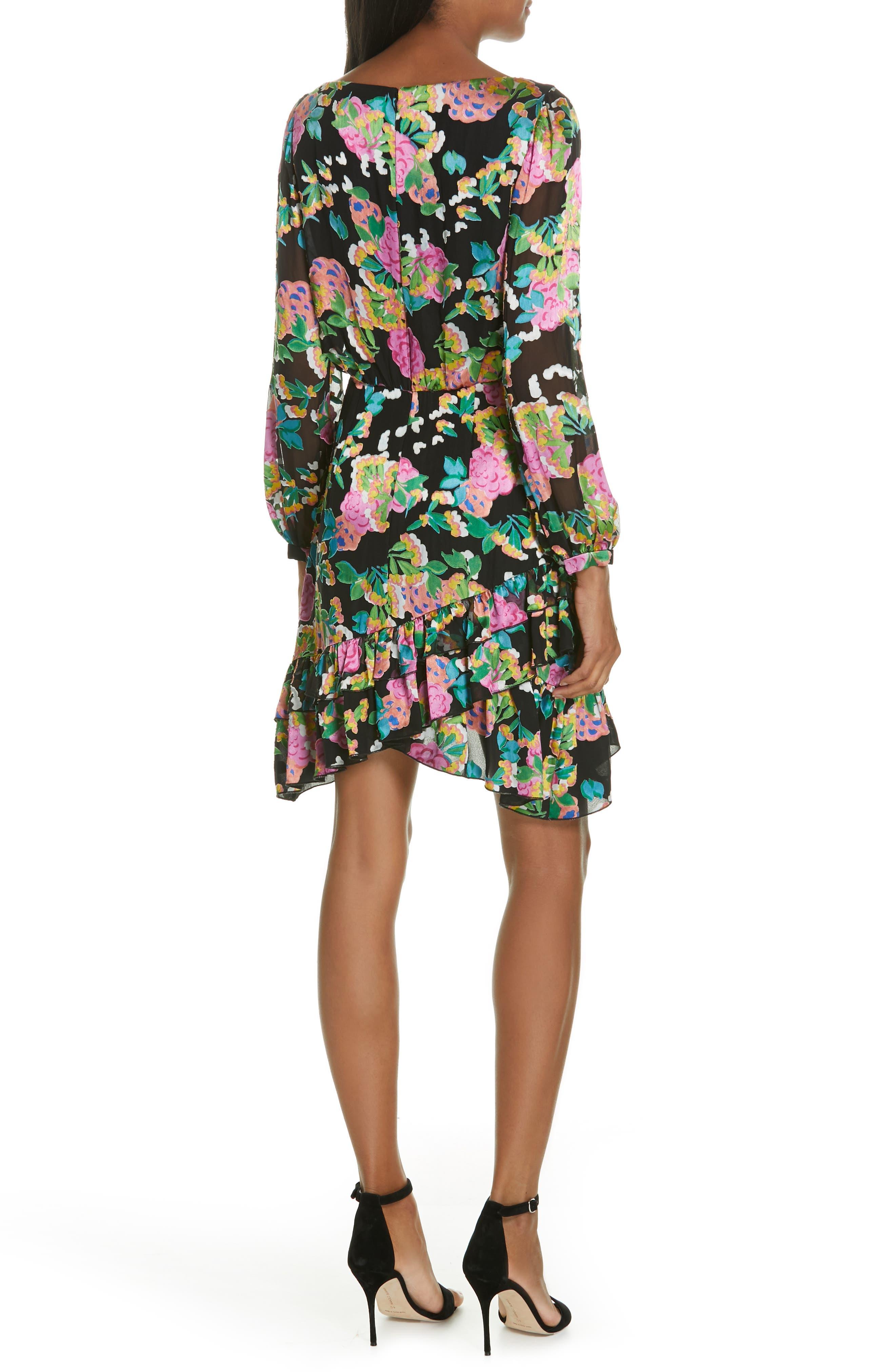 SALONI, Felicia Asymmetrical Silk Blend Dress, Alternate thumbnail 2, color, HYDRANGEA