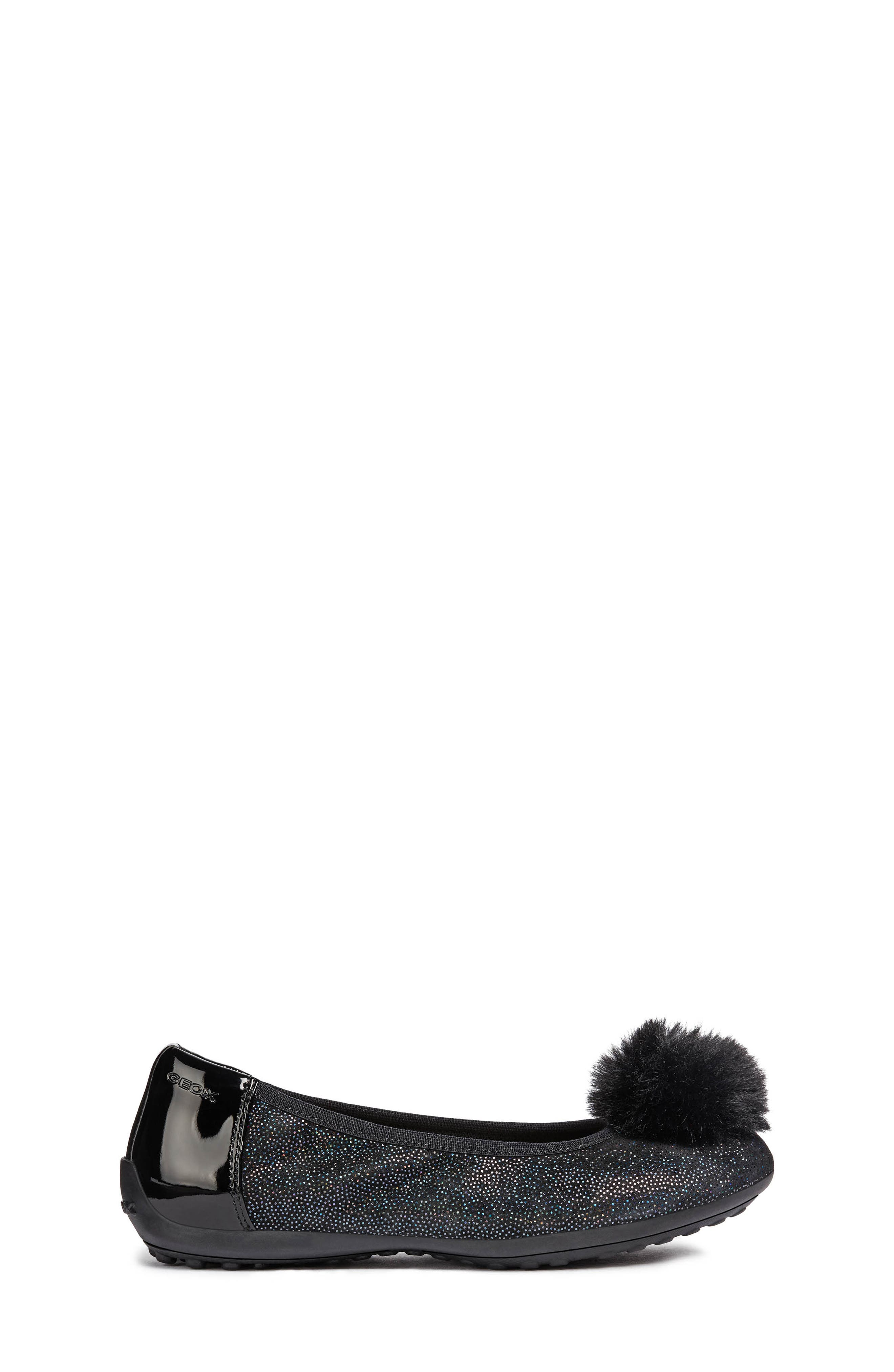 GEOX, Piuma Faux Fur Pom Glitter Ballerina Flat, Alternate thumbnail 3, color, BLACK