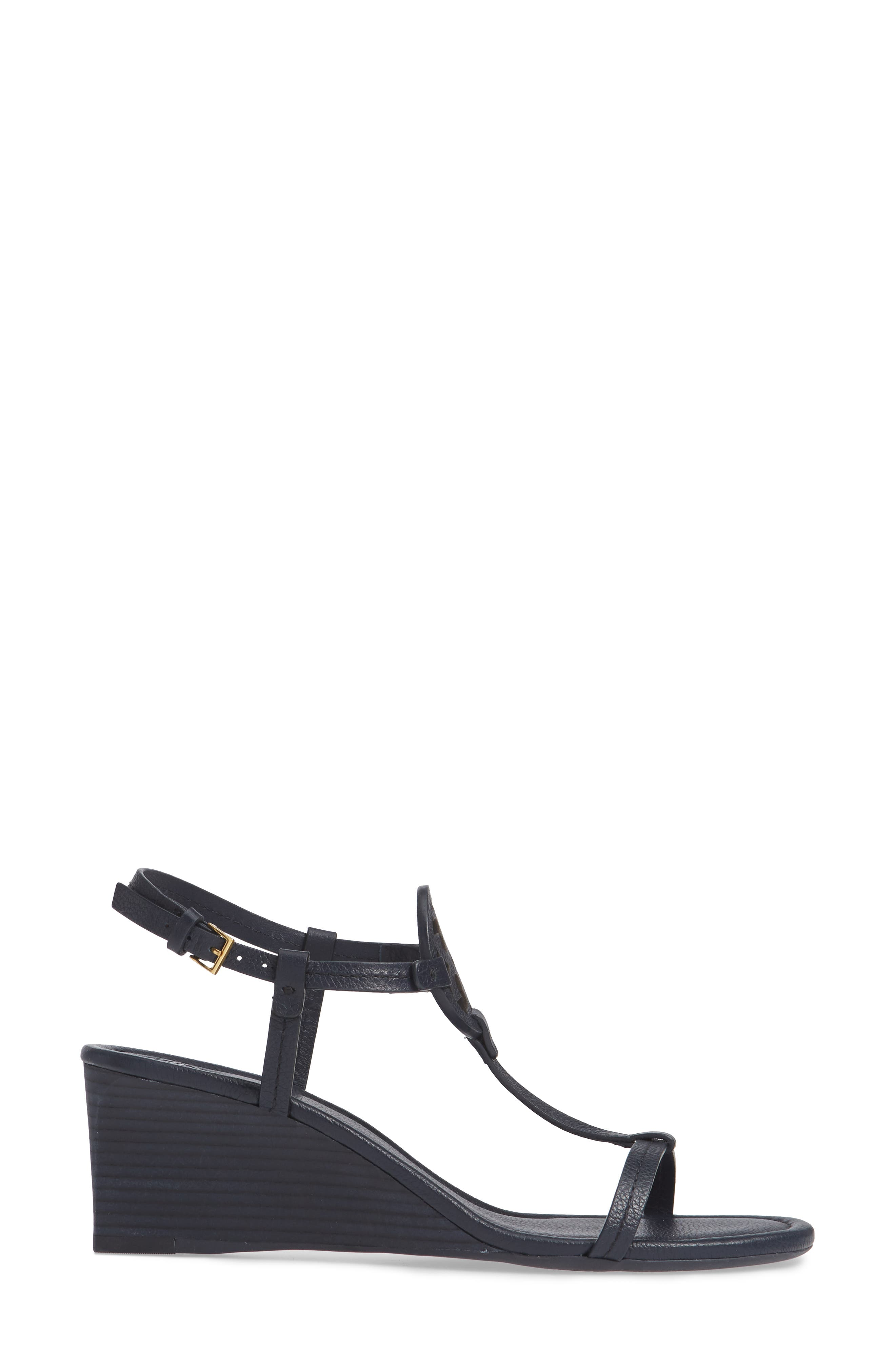 TORY BURCH, Miller Wedge Sandal, Alternate thumbnail 3, color, PERFECT NAVY