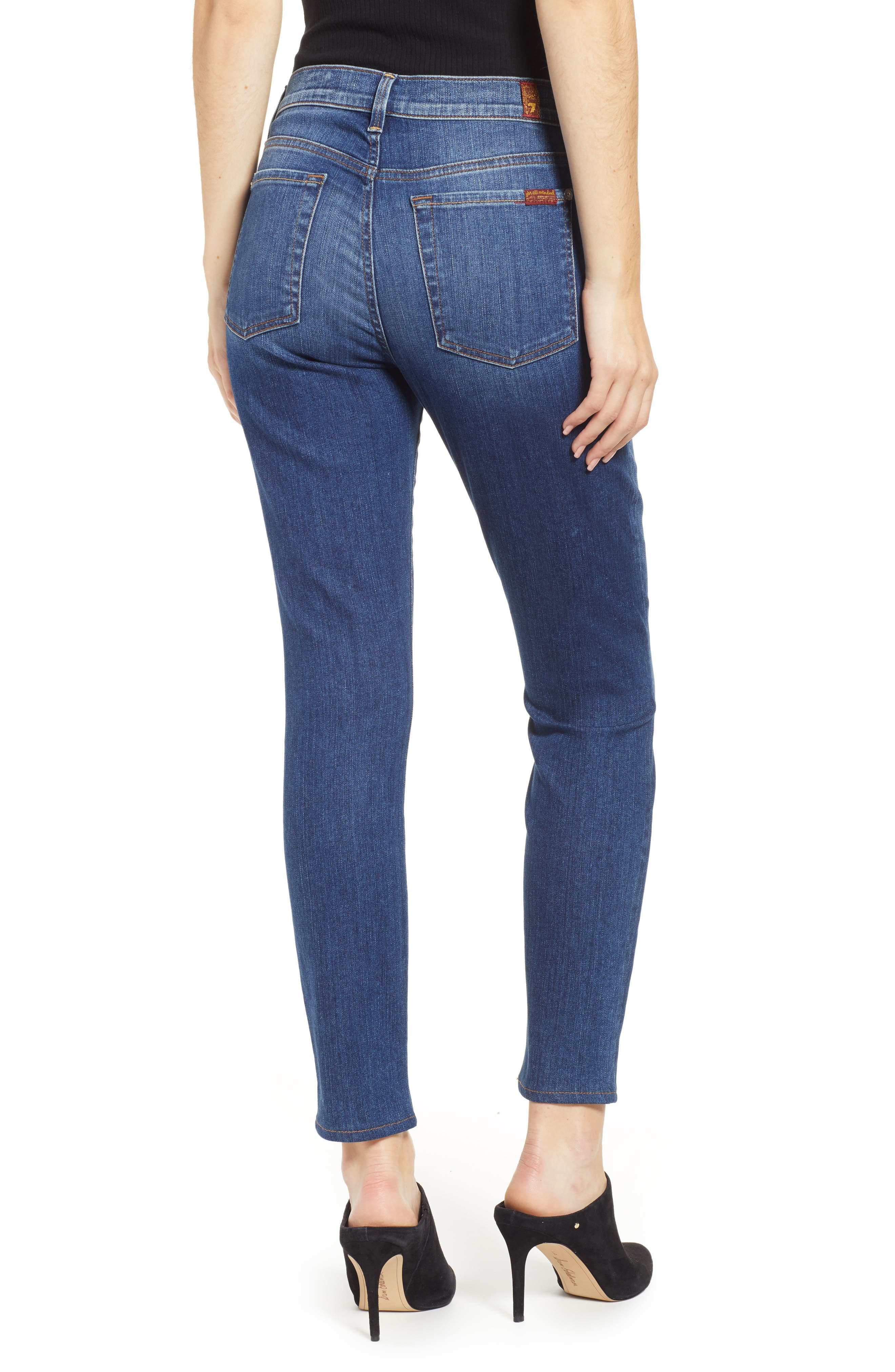 7 FOR ALL MANKIND<SUP>®</SUP>, The Ankle Skinny Jeans, Alternate thumbnail 2, color, ALLURING INDIGO