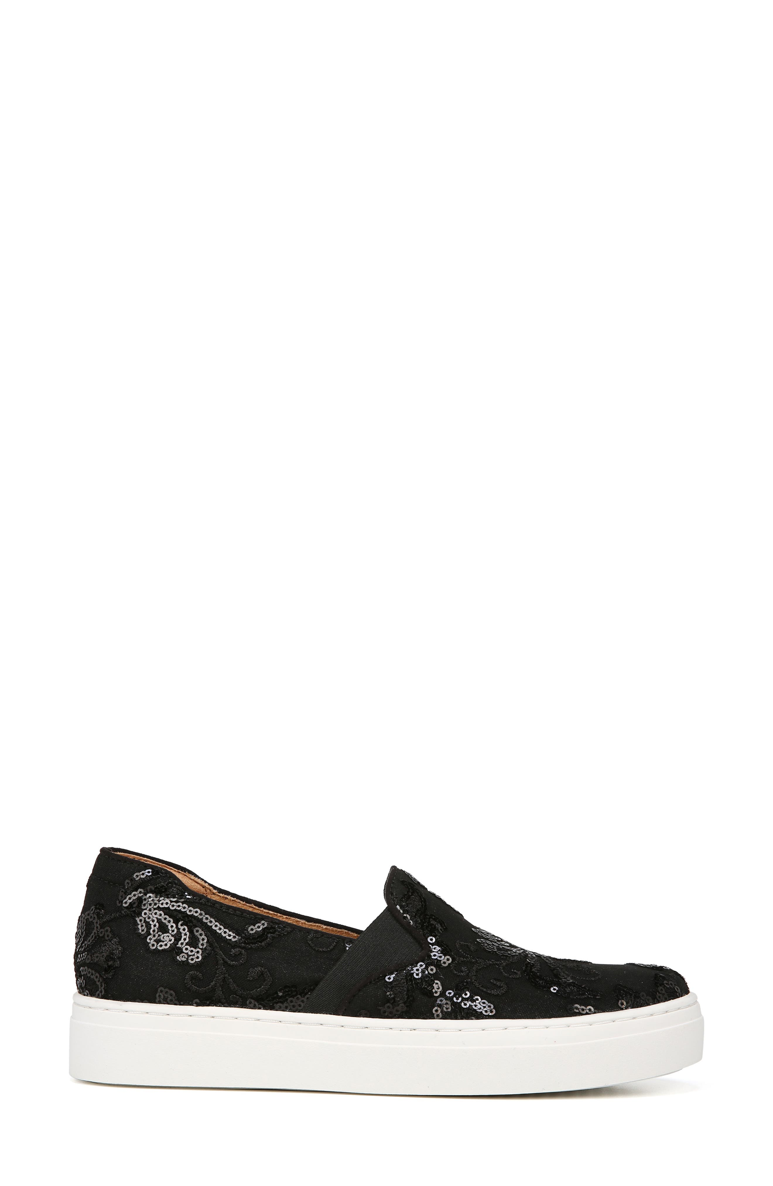 NATURALIZER, Carly Slip-On Sneaker, Alternate thumbnail 3, color, BLACK EMBROIDERED LACE