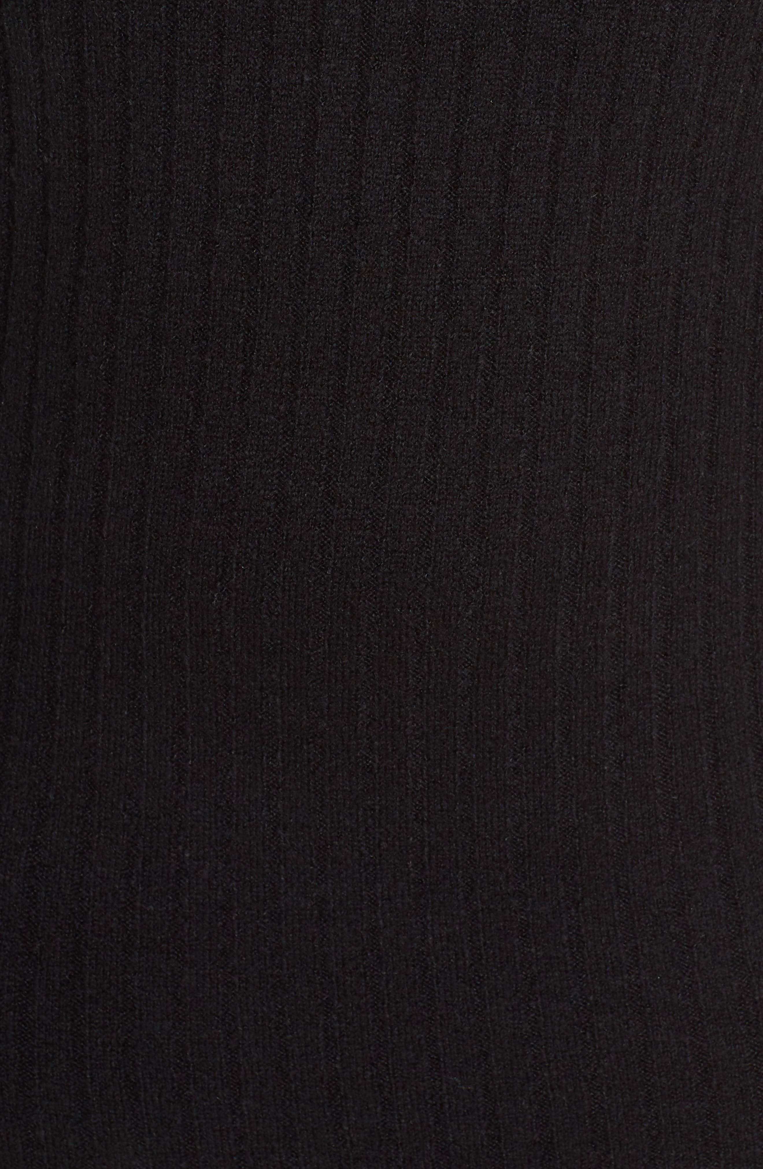LEITH, Ribbed Midi Sweater Dress, Alternate thumbnail 6, color, BLACK