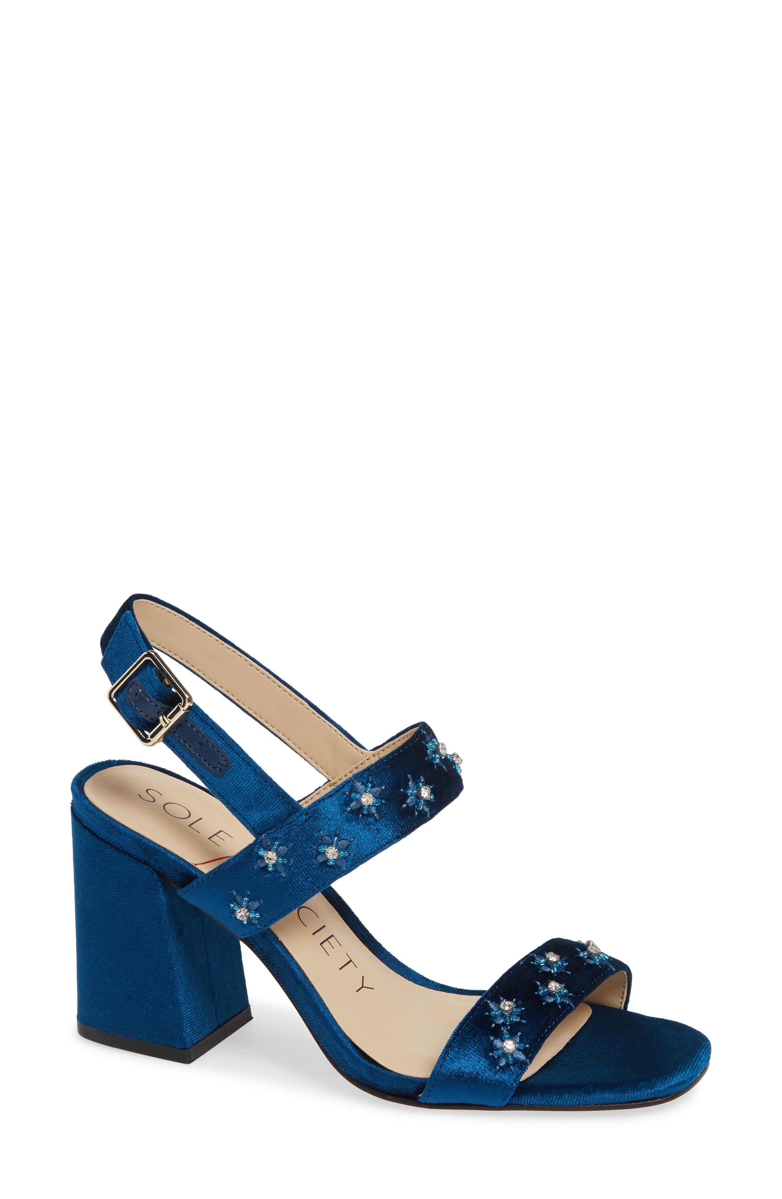 SOLE SOCIETY, Jessibel Sandal, Main thumbnail 1, color, CERULEAN BLUE VELVET