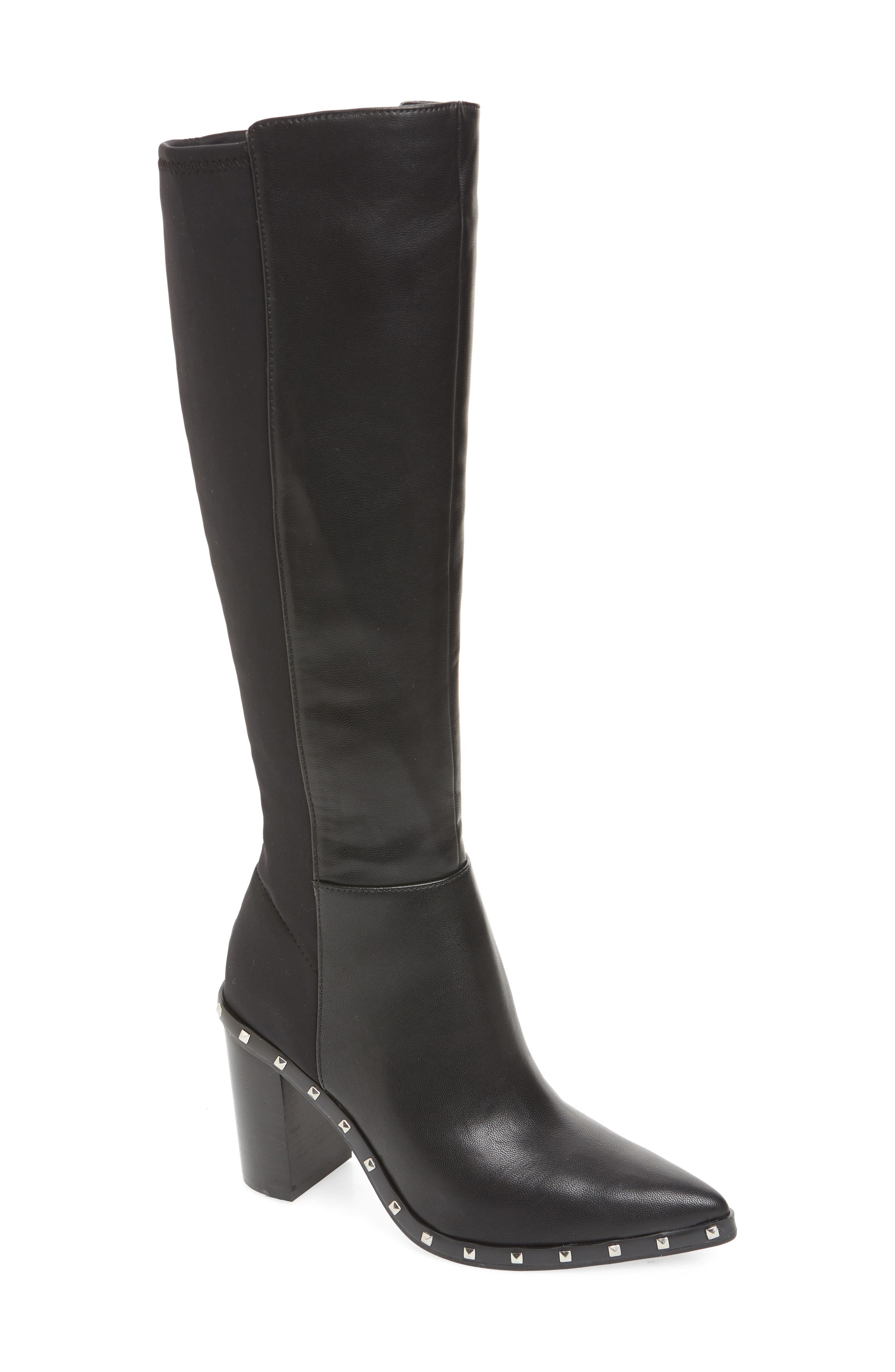 CHARLES BY CHARLES DAVID, Studded Knee High Stretch Boot, Main thumbnail 1, color, BLACK FAUX NUBUCK LEATHER