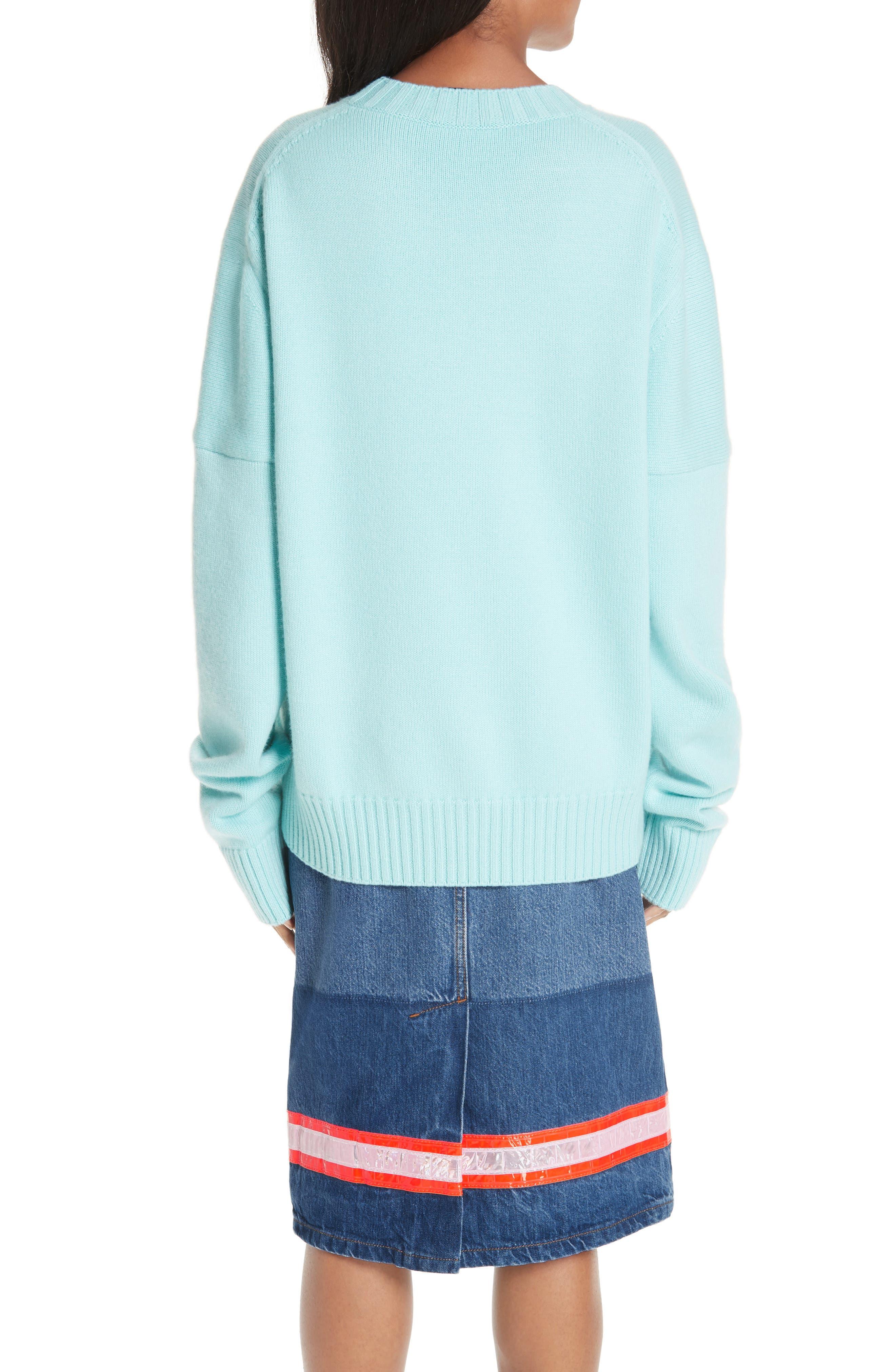CALVIN KLEIN 205W39NYC, Logo Cashmere Sweater, Alternate thumbnail 2, color, SKY BLUE