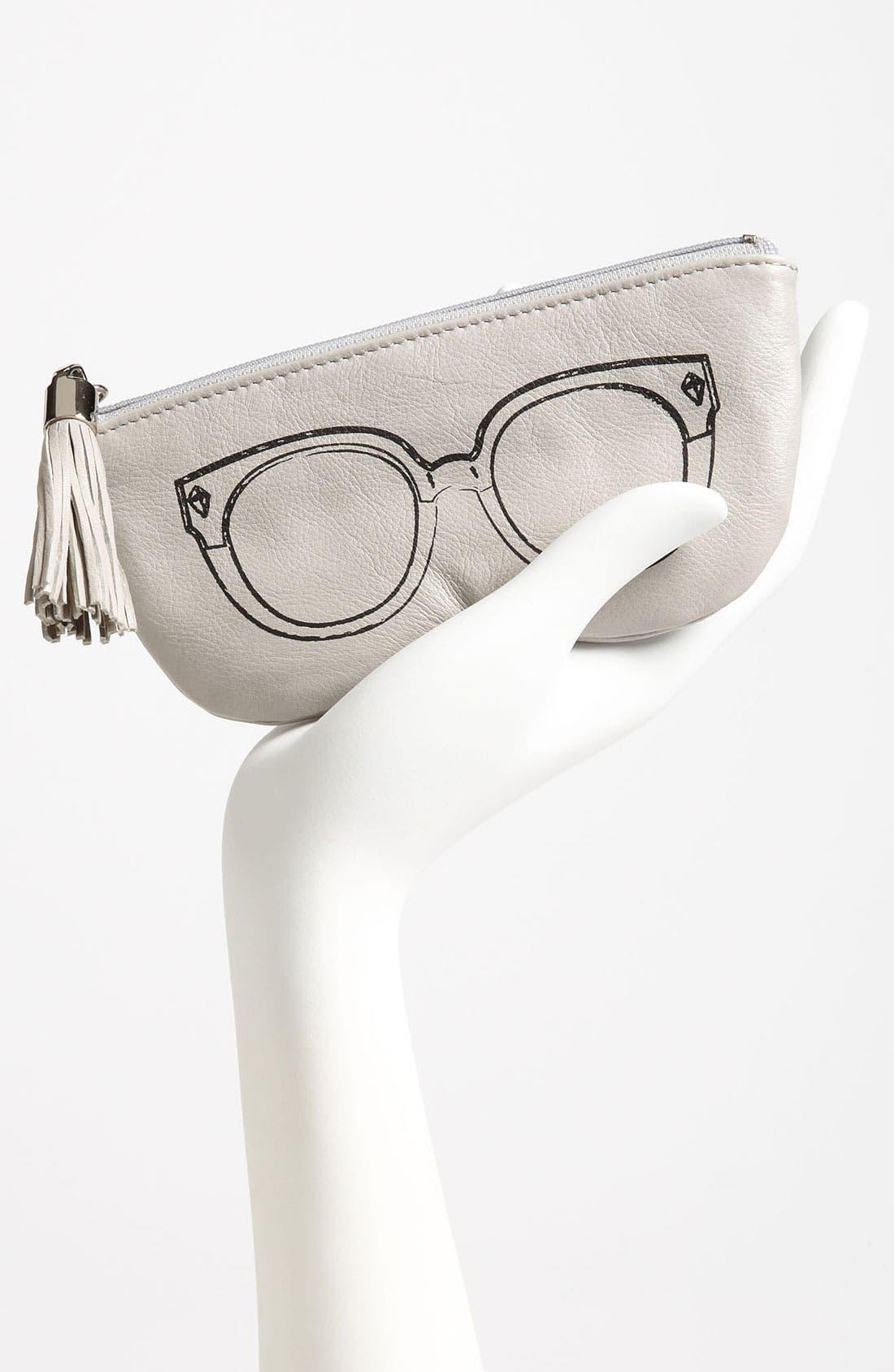 REBECCA MINKOFF, Leather Sunglasses Case, Alternate thumbnail 3, color, 020